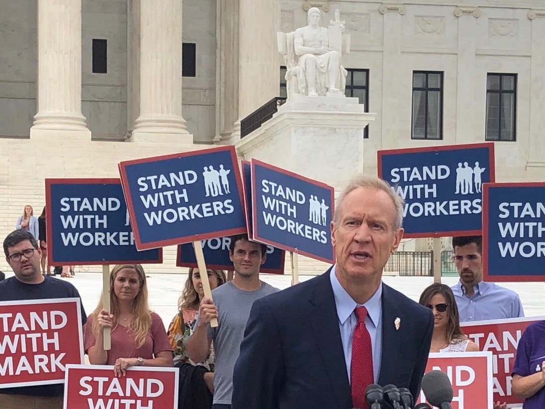 Gov. Bruce Rauner discusses the Janus ruling on the steps of the U.S. Supreme Court Wednesday. But a new state website goes well beyond the remedies of that decision. (Twitter/Governor Rauner)
