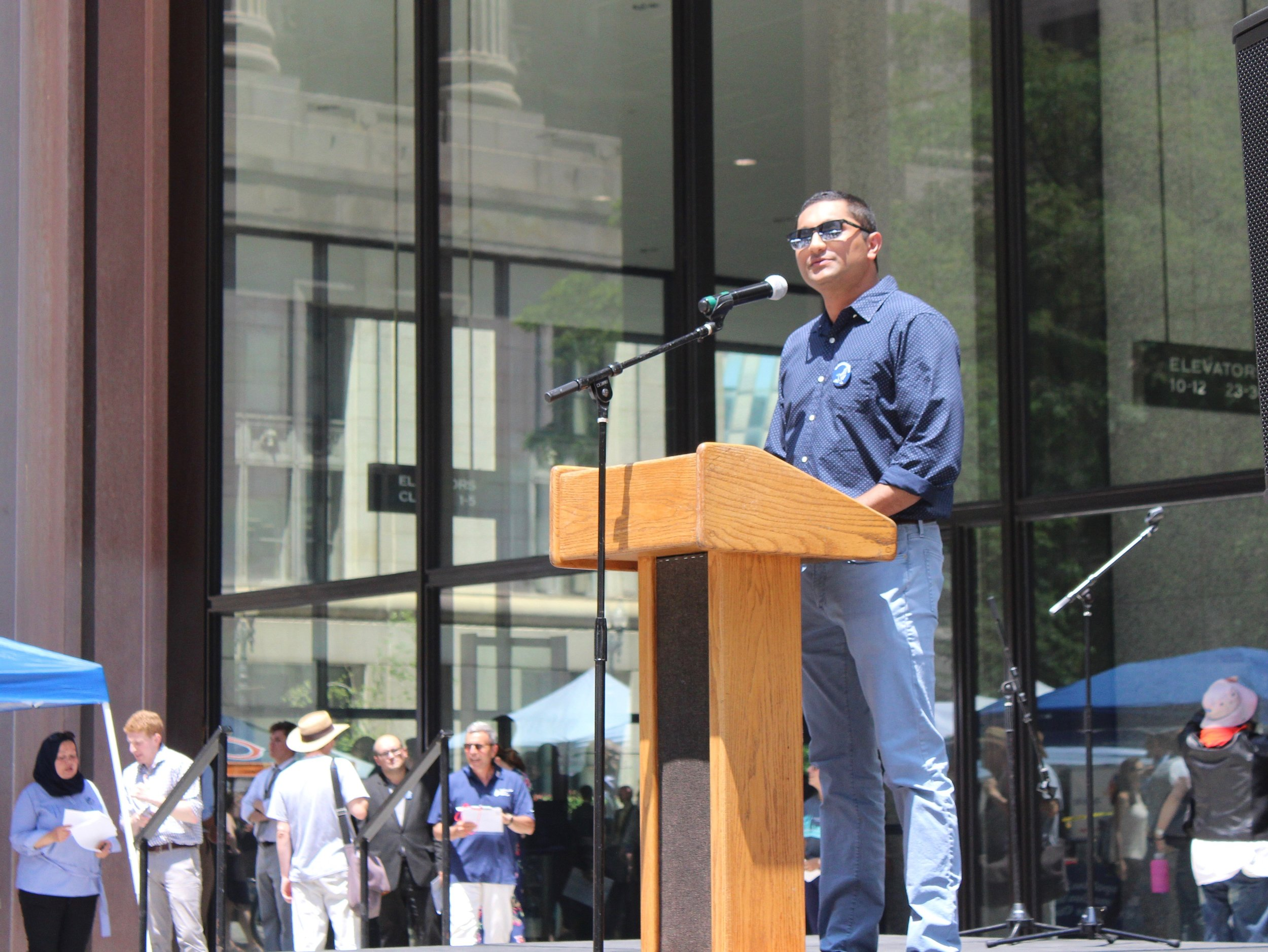 """""""We need to stand together and come together around our communities,"""" says Chicago Alderman Ameya Pawar. """"We need to lift one another up."""" (One Illinois/Ted Cox)"""
