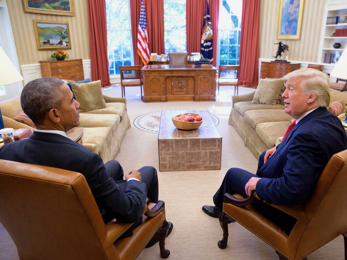 President Barack Obama meets Donald Trump in the White House Oval Office before Trump's inauguration. (Pete Souza/White House)
