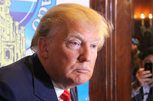 Donald Trump strikes a confrontational pose at the City Club of Chicago in 2015. (One Illinois/Ted Cox)