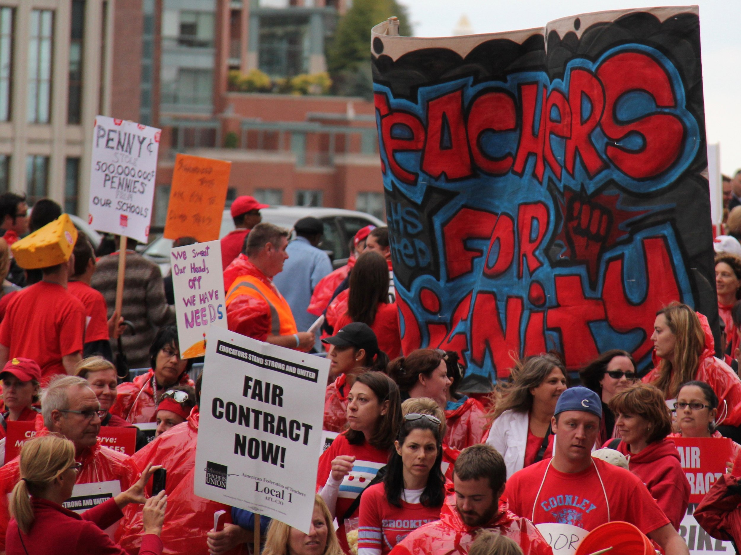 Chicago teachers stage a protest. (Shutterstock)