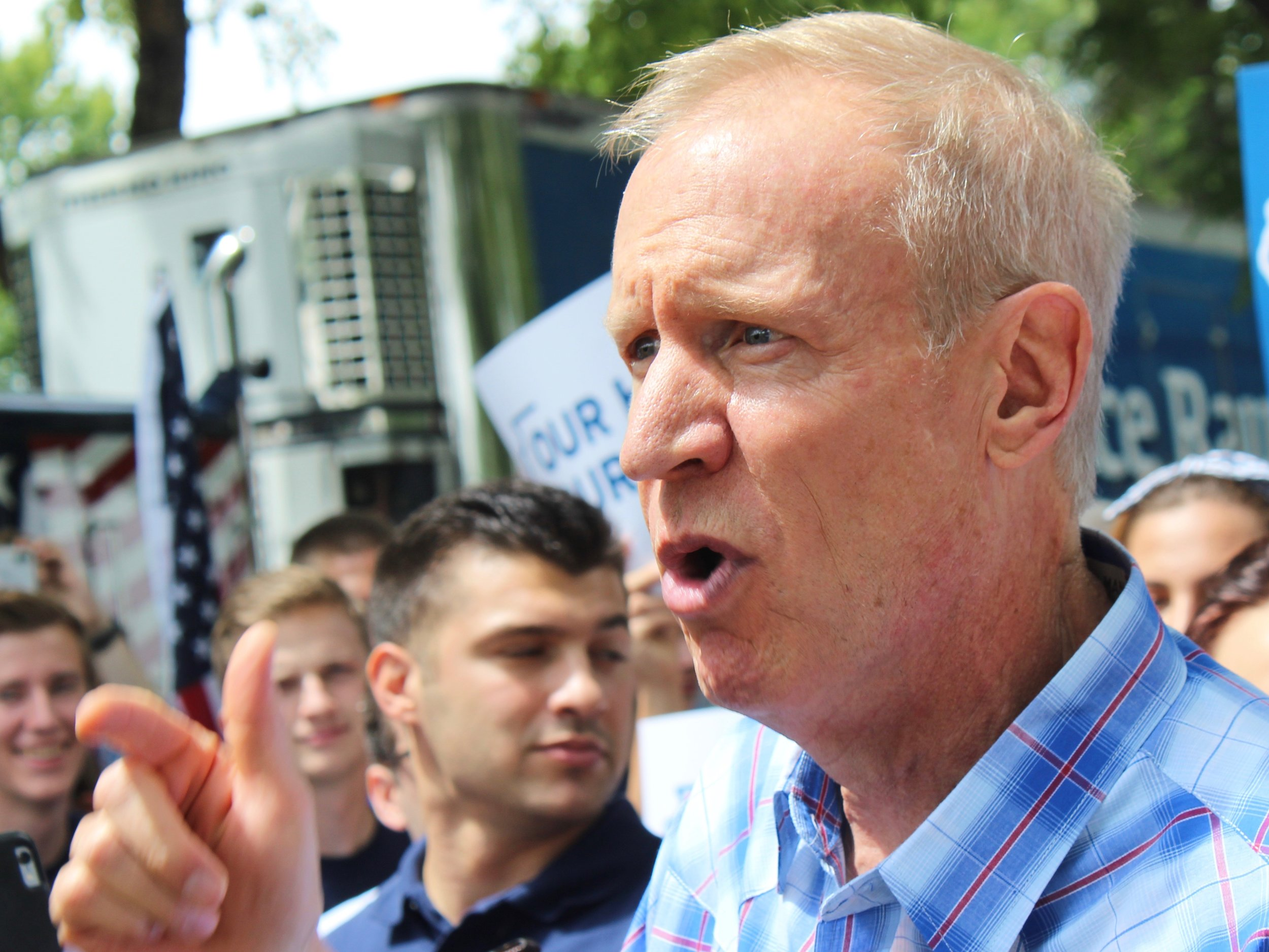 """Gov. Bruce Rauner signed the """"tax credit scholarship"""" program as part of a new state law radically altering the state's education funding formula. (One Illinois/Ted Cox)"""
