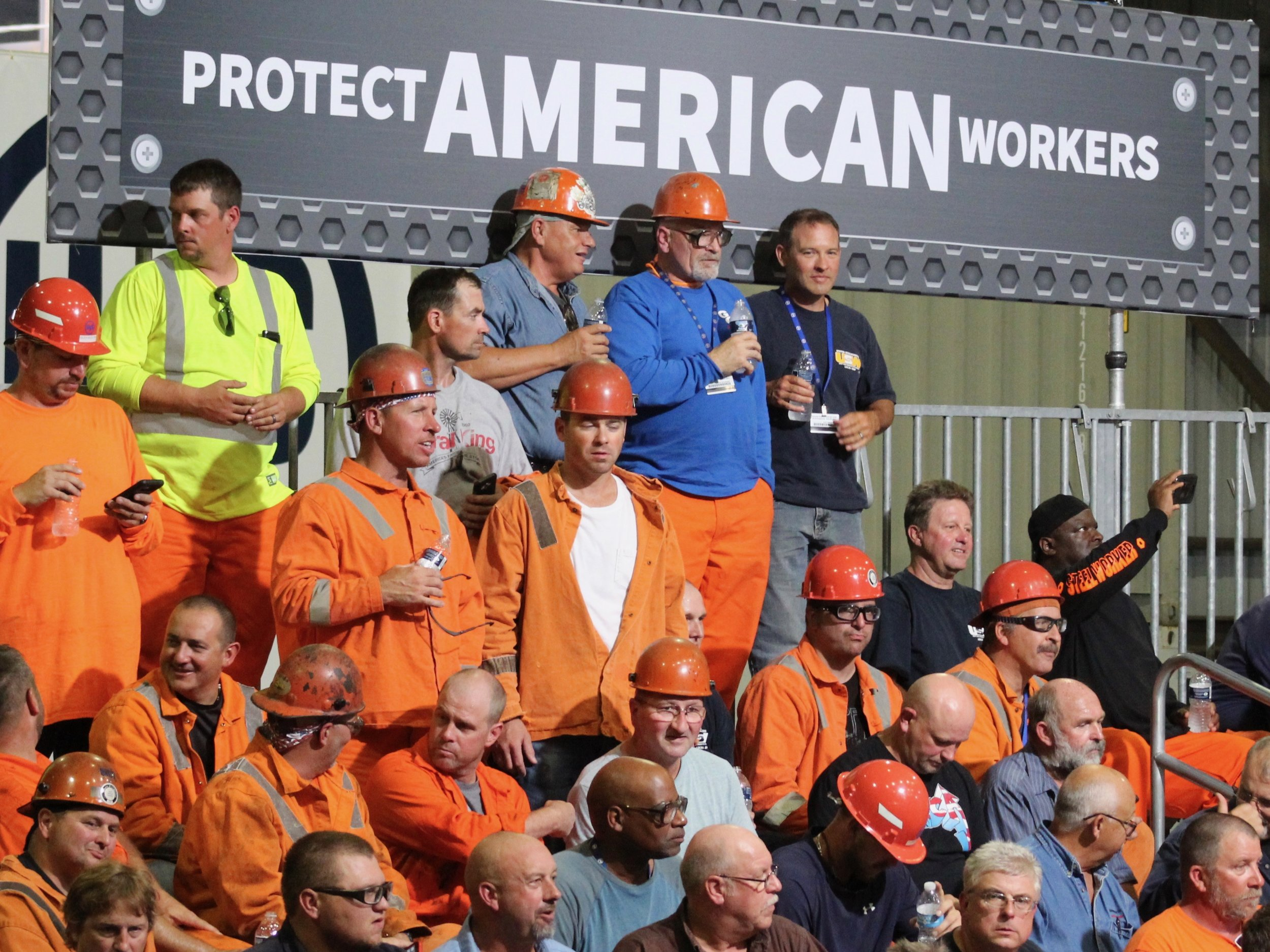 Members of the United Steelworkers union await President Trump on his visit to the U.S. Steel Granite City Works earlier this summer. (One Illinois/Ted Cox)