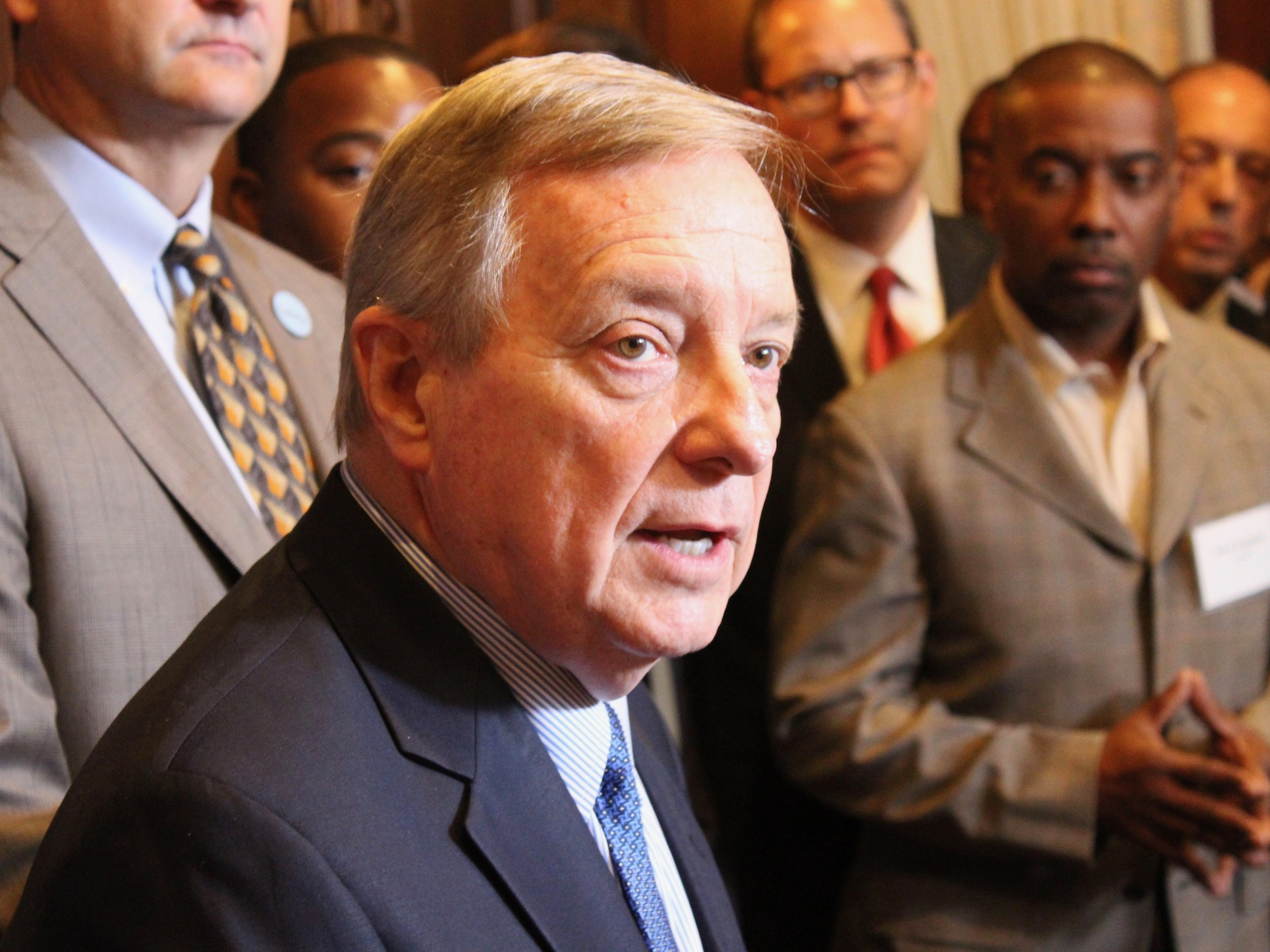 U.S. Sen. Dick Durbin discusses the Brett Kavanaugh U.S. Supreme Court confirmation at the City Club of Chicago Monday. (One Illinois/Ted Cox)