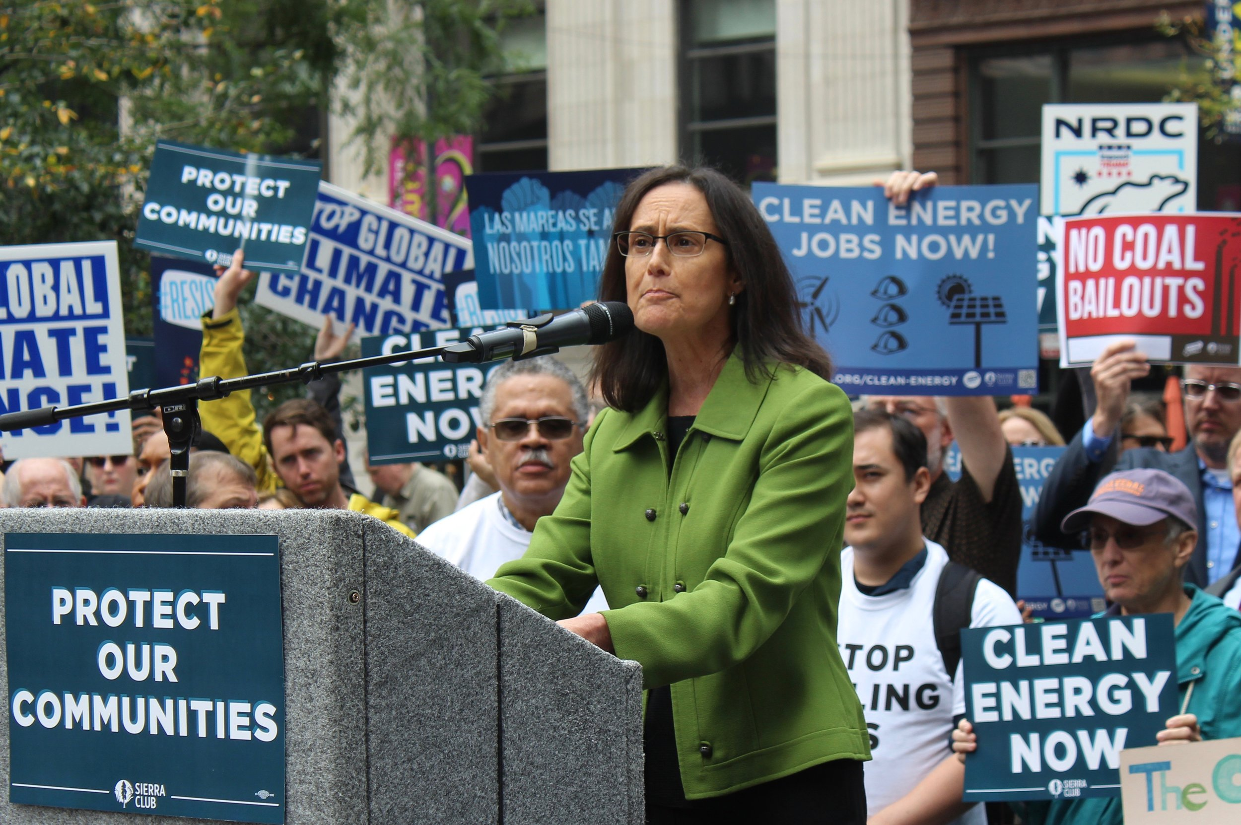"""Attorney General Lisa Madigan attacked President Trump's Affordable Clean Energy plan at a Chicago protest Monday, saying, """"It is not affordable, and it is not clean."""" (One Illinois/Ted Cox)"""