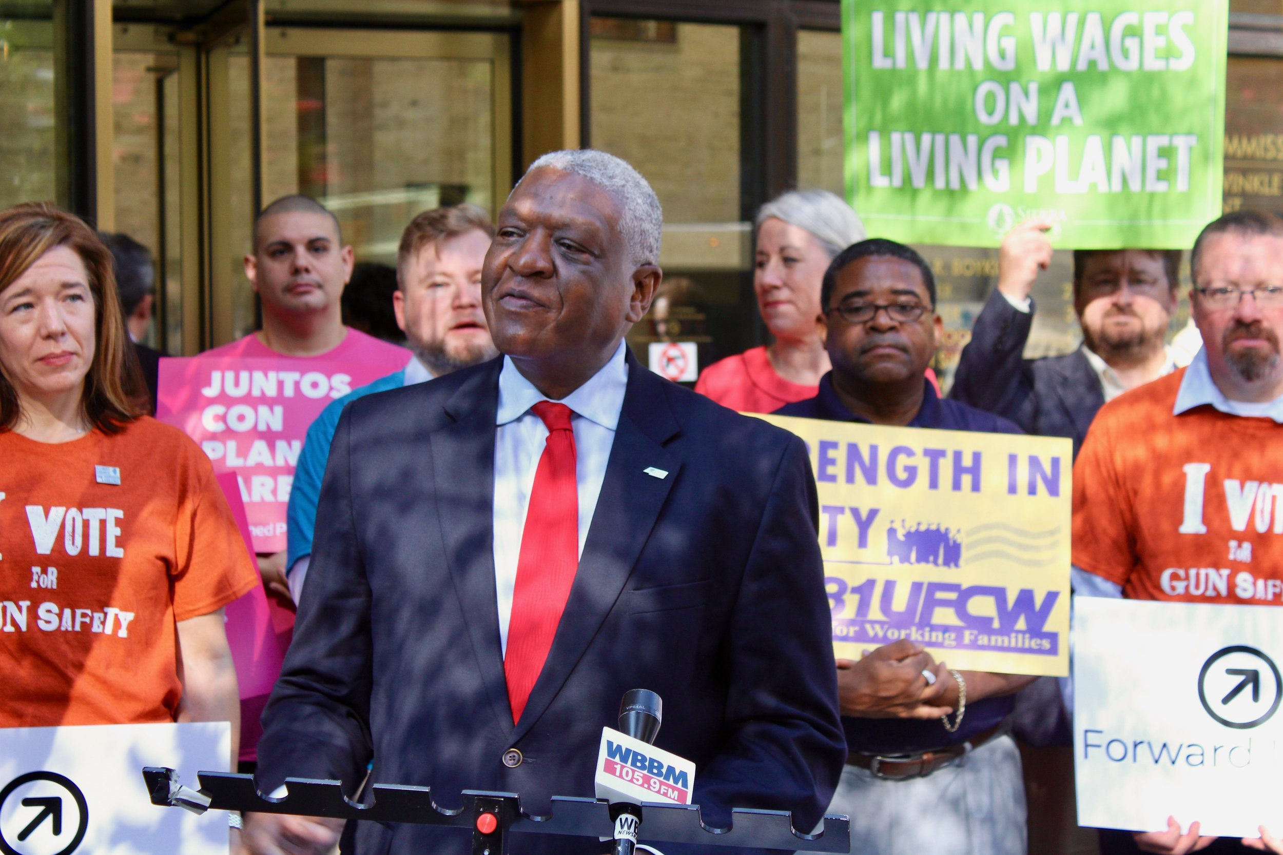 William McNary, co-director of Citizen Action Illinois, joins in touting the Forward Illinois agenda Tuesday outside the Dunne Building in Chicago. (One Illinois/Ted Cox)