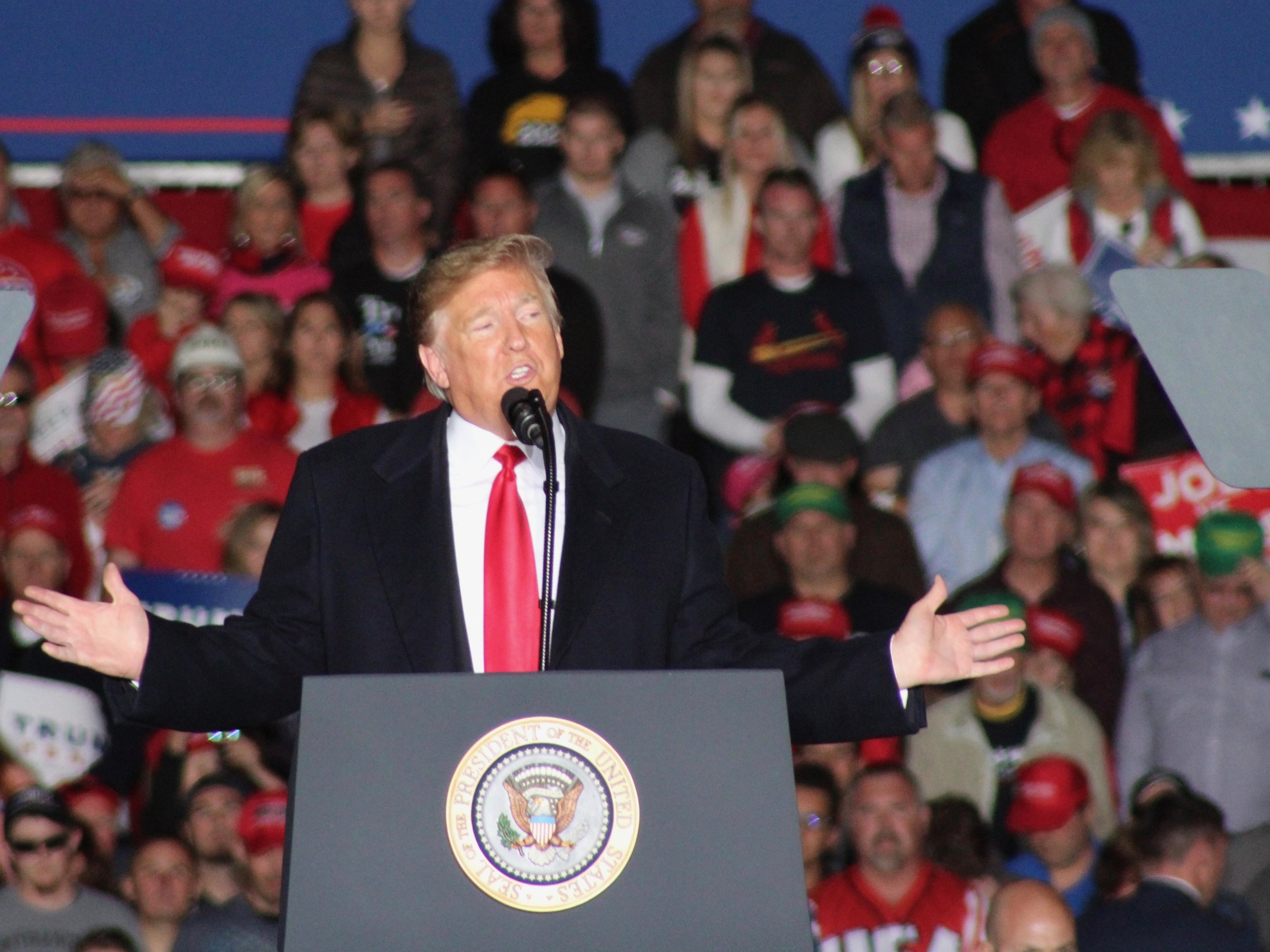 President Trump told more than a few stretchers in his campaign rally at Southern Illinois Airport. (One Illinois/Ted Cox)