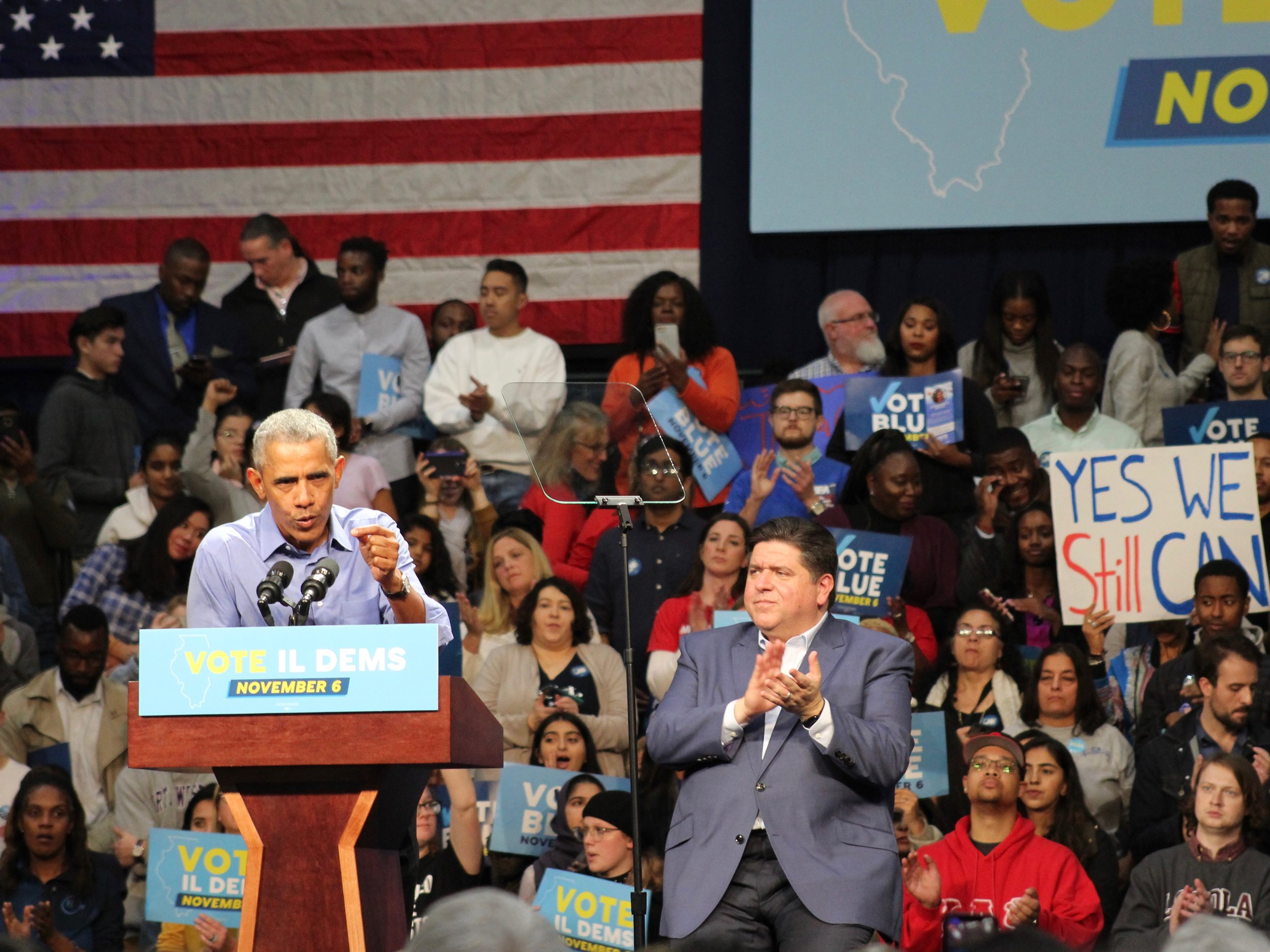 """""""When you participate in the political process, you can be a check on bad behavior,"""" said President Barack Obama. """"When you vote, you can choose hope over fear. You are part of the process of shifting the course of this country."""" (One Illinois/Ted Cox)"""