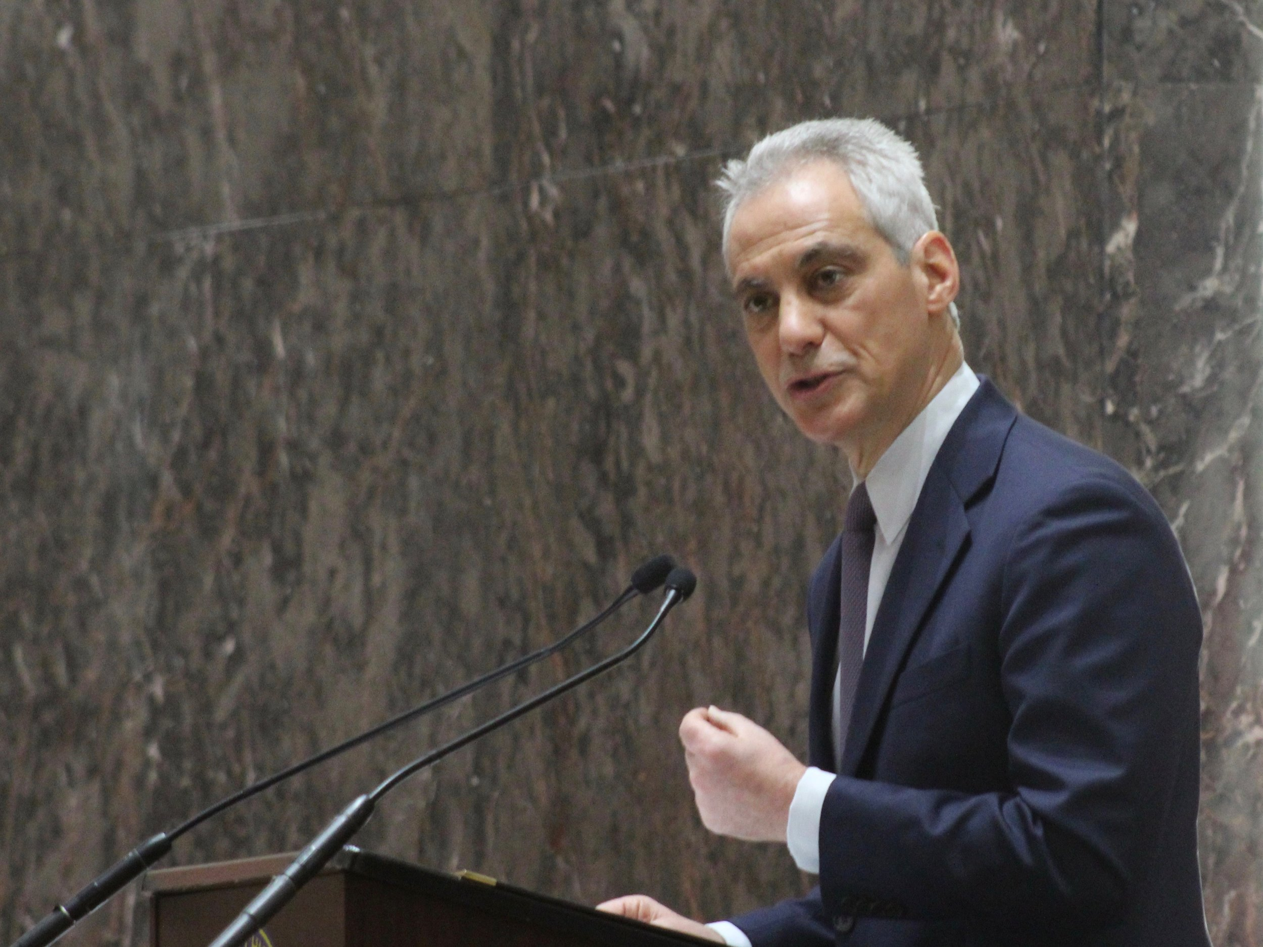 Mayor Rahm Emanuel addresses the Chicago City Council on pension fixes including amending the state constitution to allow a progressive income tax and legalizing marijuana. (One Illinois/Ted Cox)