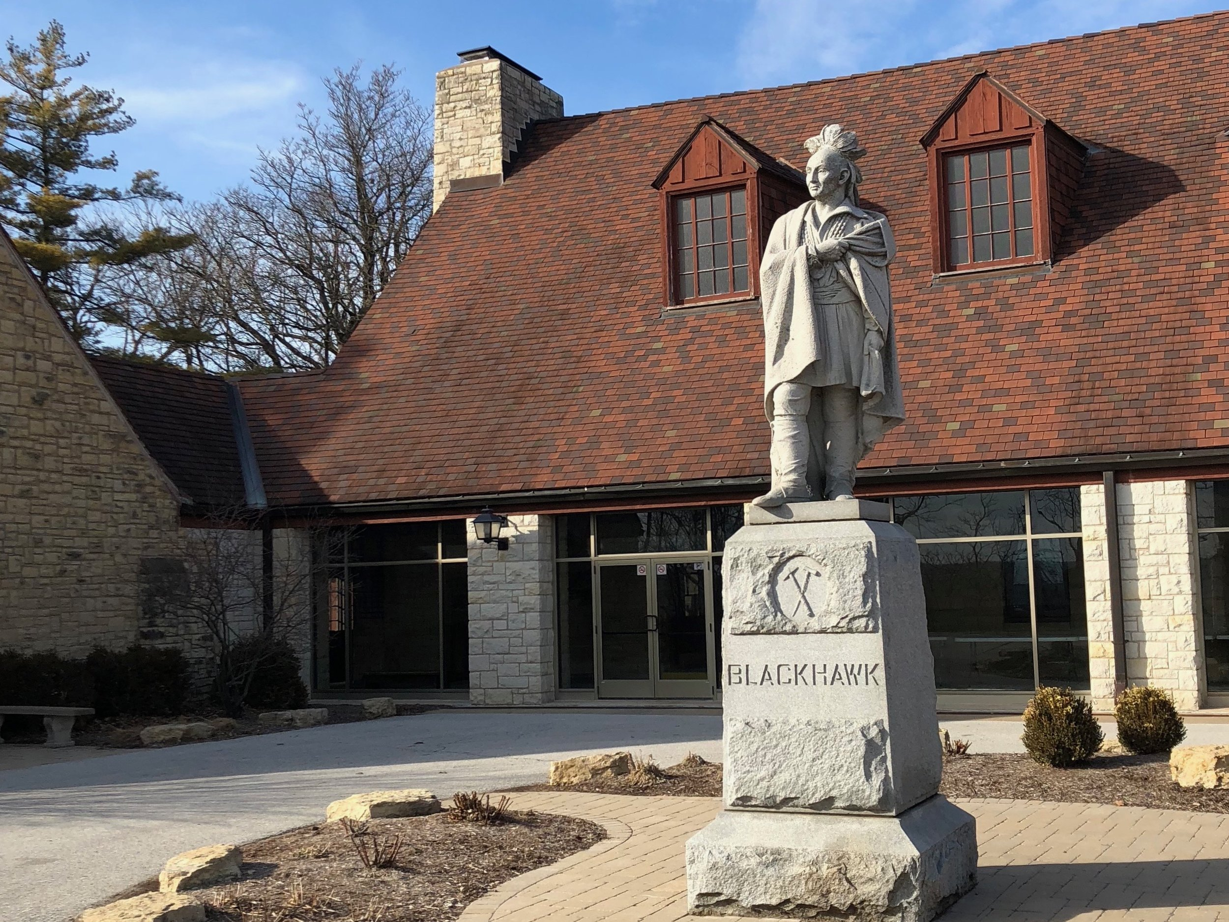 The statute of Black Hawk — mislabeled, of course — at the State Historic Site named in his honor in Rock Island. (One Illinois/Ted Cox)