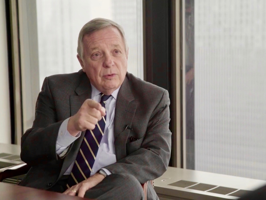 """""""Here's what we should all agree on: large portions of the government shouldn't be shut down while there's a debate on border security."""" - U.S. Sen. Dick Durbin (One Illinois/Zachary Sigelko)"""
