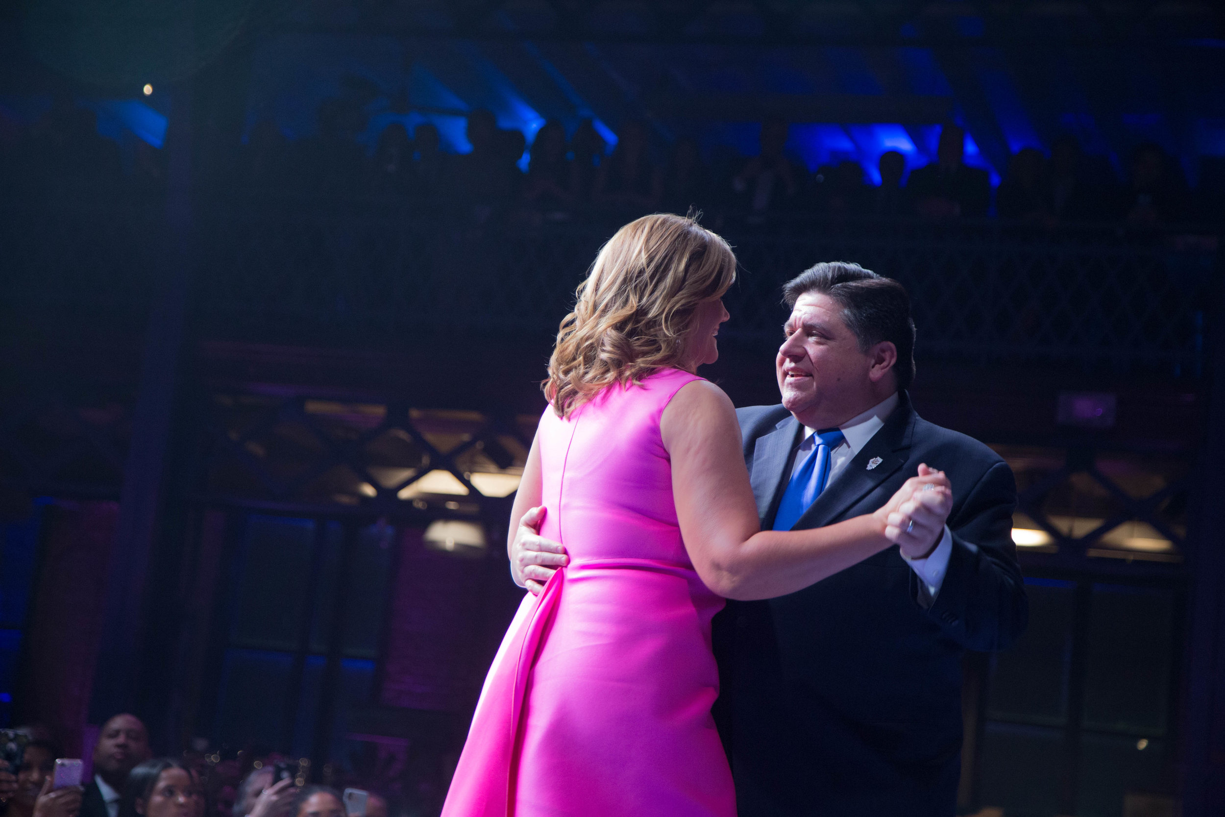 """Gov. Pritzker and his wife, M.K., have their first dance as Illinois's first couple to Marvin Gaye's """"How Sweet It Is."""" (One Illinois/Zachary Sigelko)"""