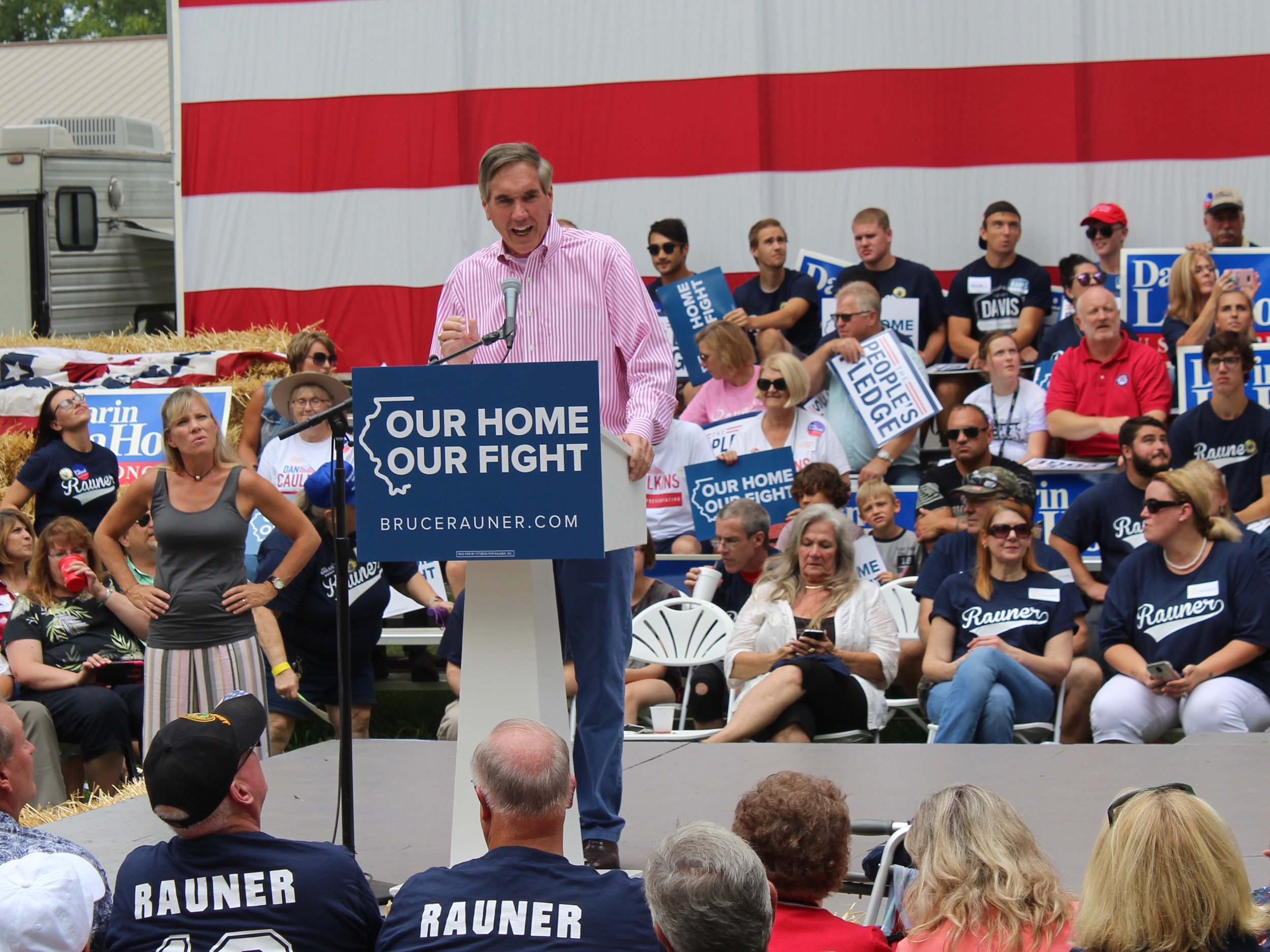 State Republican Party Chairman Timothy Schneider rallies supporters on Governor's Day at the State Fair in August. (One Illinois/Ted Cox)
