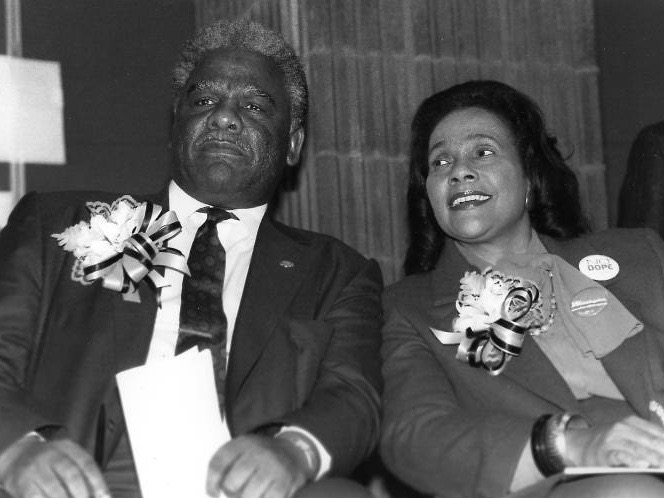 Chicago Mayor Harold Washington is joined by Coretta Scott King at Benito Juarez High School during his 1987 re-election campaign. (Chicago Public Library Special Collections and Preservation Division)