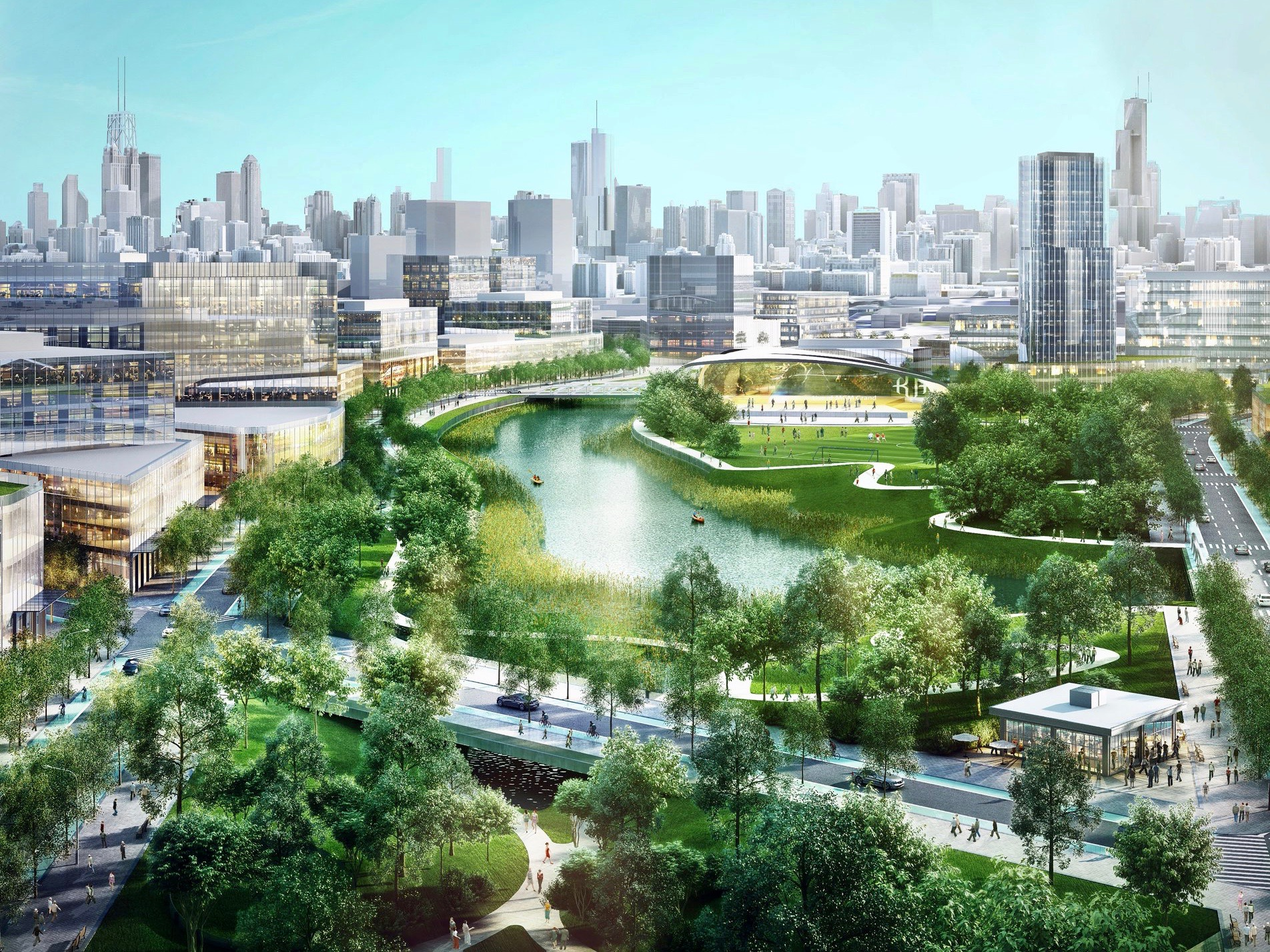 Sterling Bay's Lincoln Yards proposal for the North Branch of the Chicago River. (Twitter/Lincoln Yards)