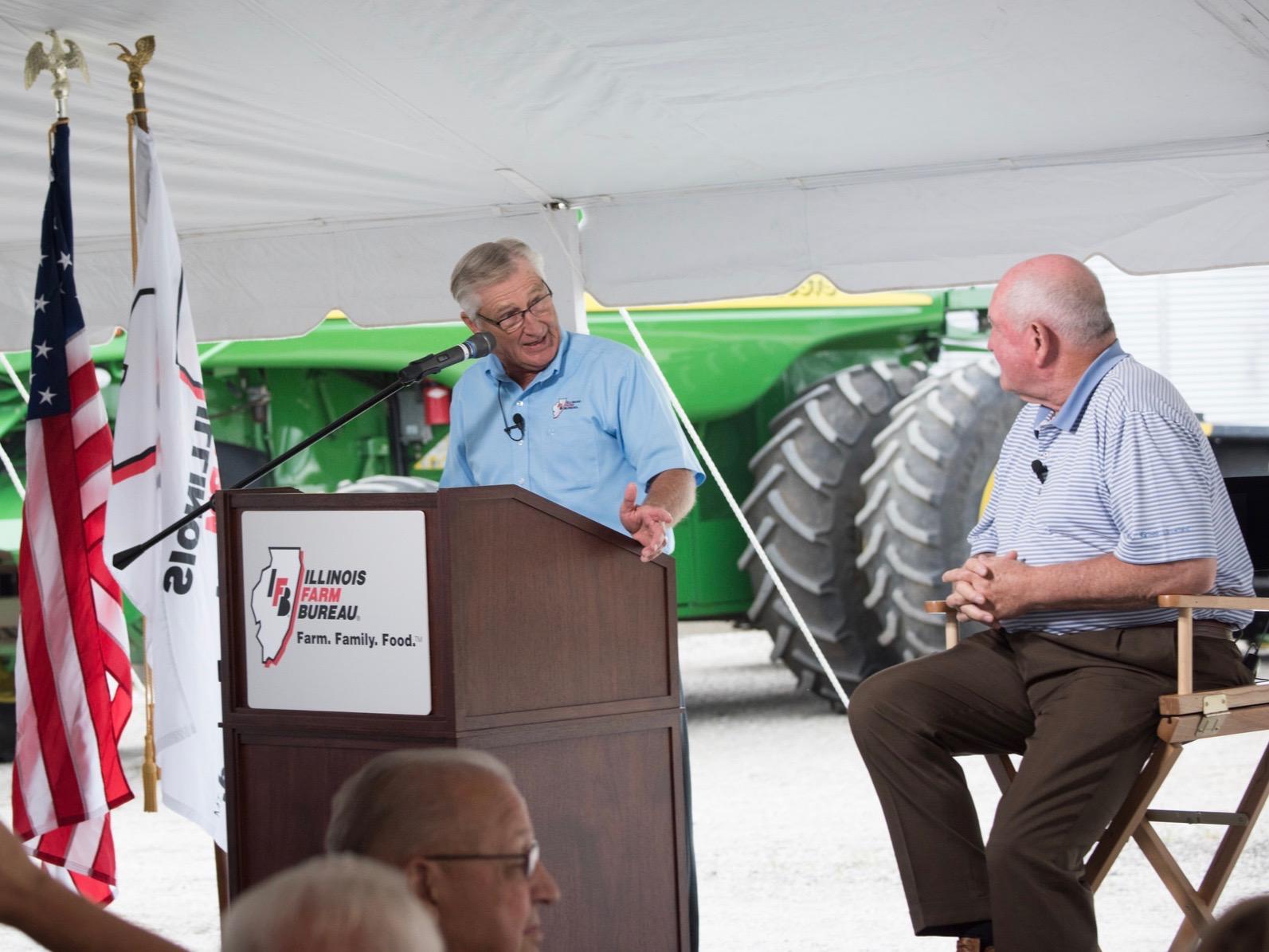 Illinois Farm Bureau President Richard Guebert Jr. and USDA Secretary Sonny Perdue talk at a 2017 event in Rochester. (USDA/Lance Cheung)