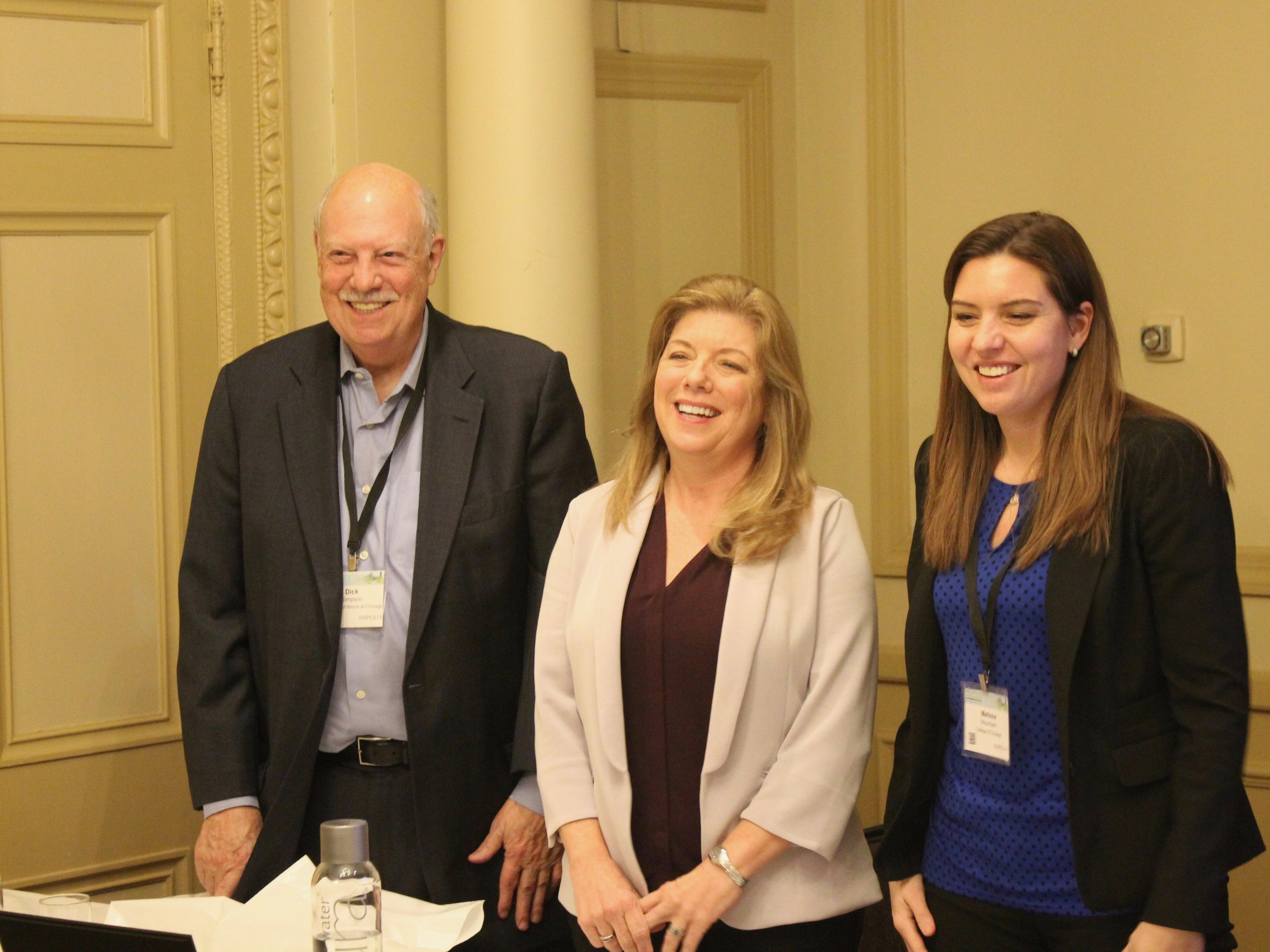 Professors Dick Simpson, Constance Mixon, and Melissa Mouritsen performed a post mortem on Tuesday's election as part of the Midwest Political Science Association Conference at Chicago's Palmer House. (One Illinois/Ted Cox)