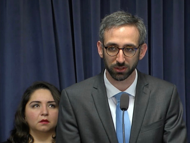 Backed by state Rep. Delia Ramirez, Rep. Will Guzzardi speaks Thursday at a House Progressive Caucus news conference. (Blue Room Stream)