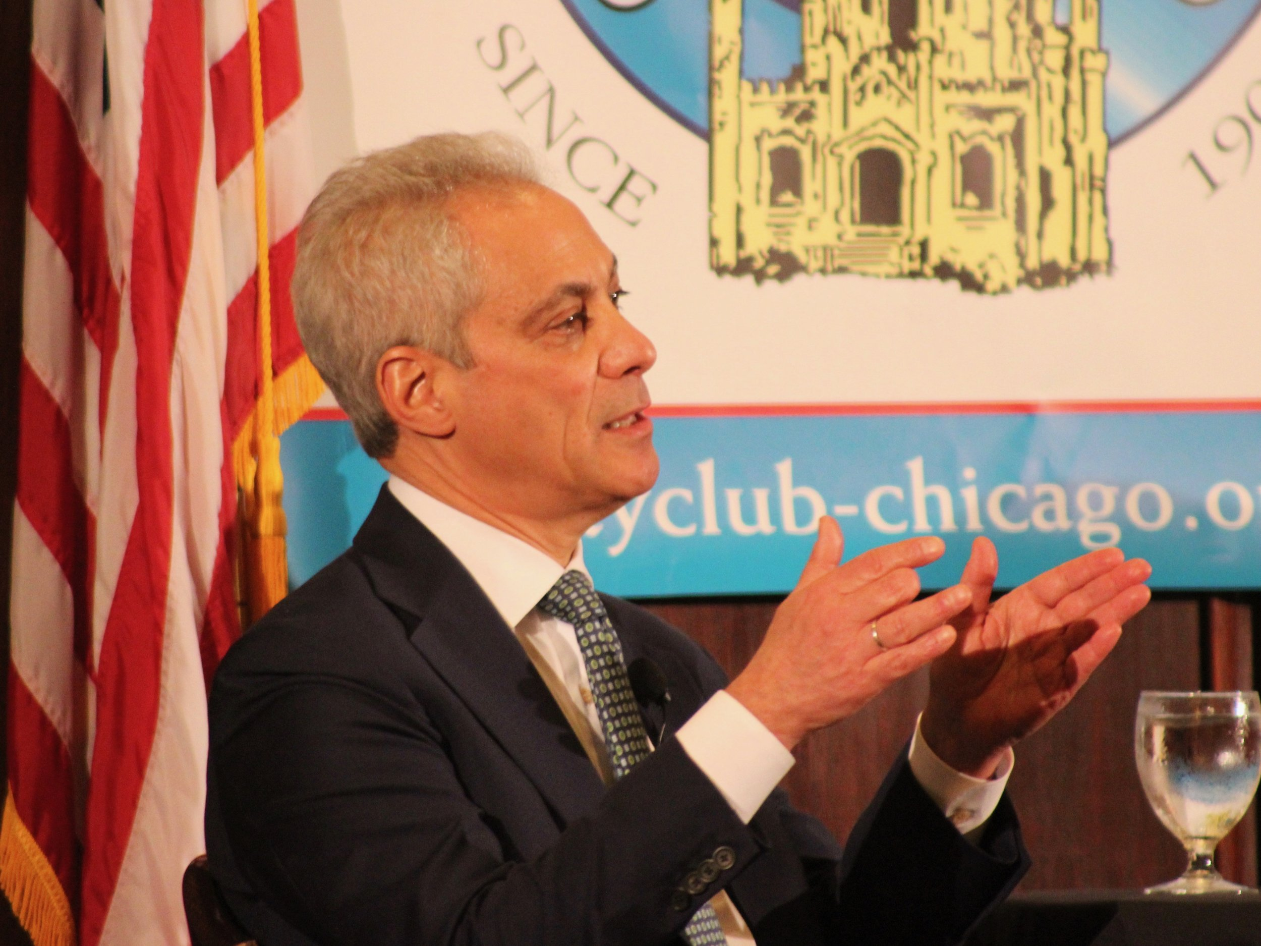 Mayor Rahm Emanuel conducts what amounts to an exit interview at a City Club of Chicago luncheon Thursday. (One Illinois/Ted Cox)