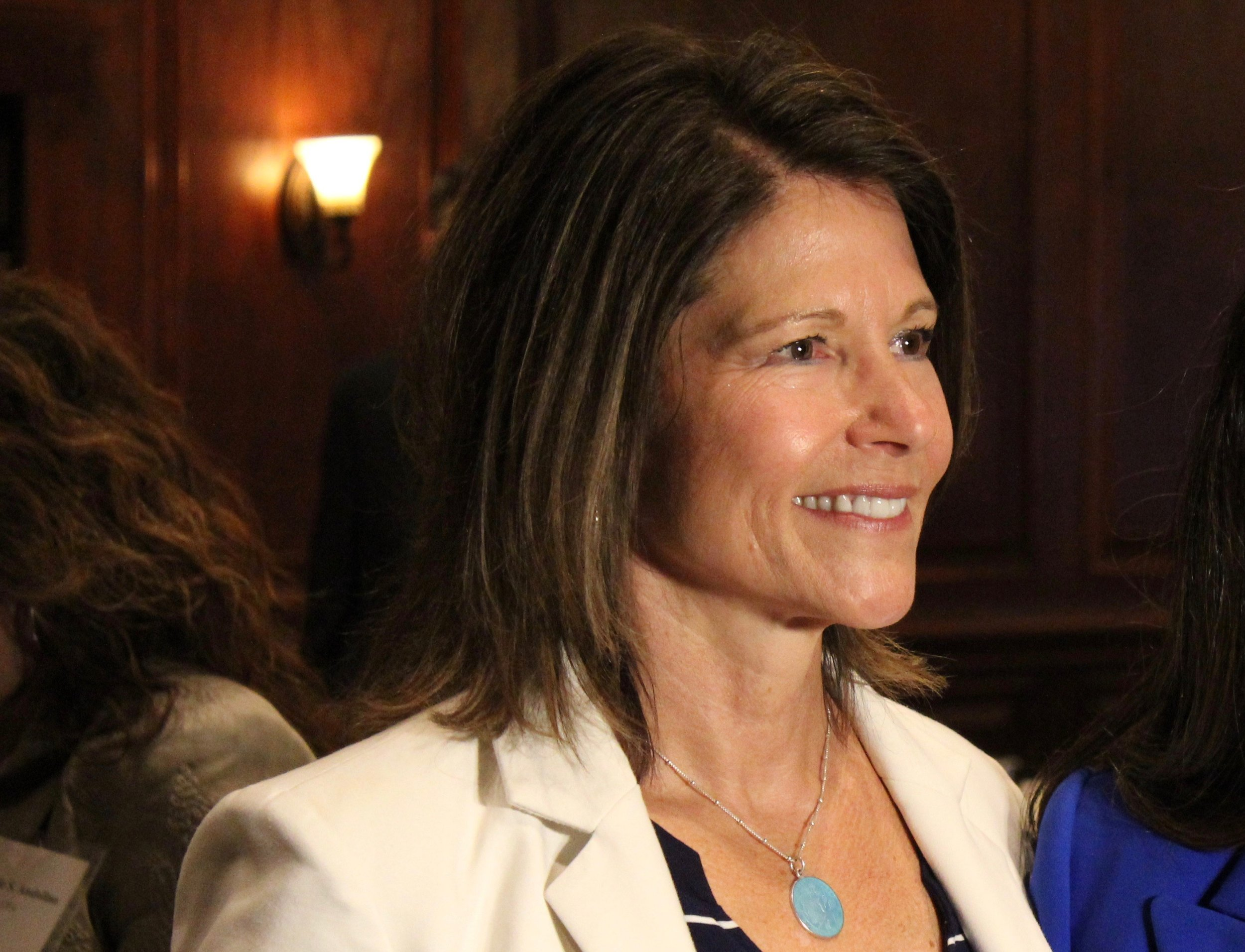 U.S. Rep. Cheri Bustos appears at the City Club of Chicago Monday. (One Illinois/Ted Cox)