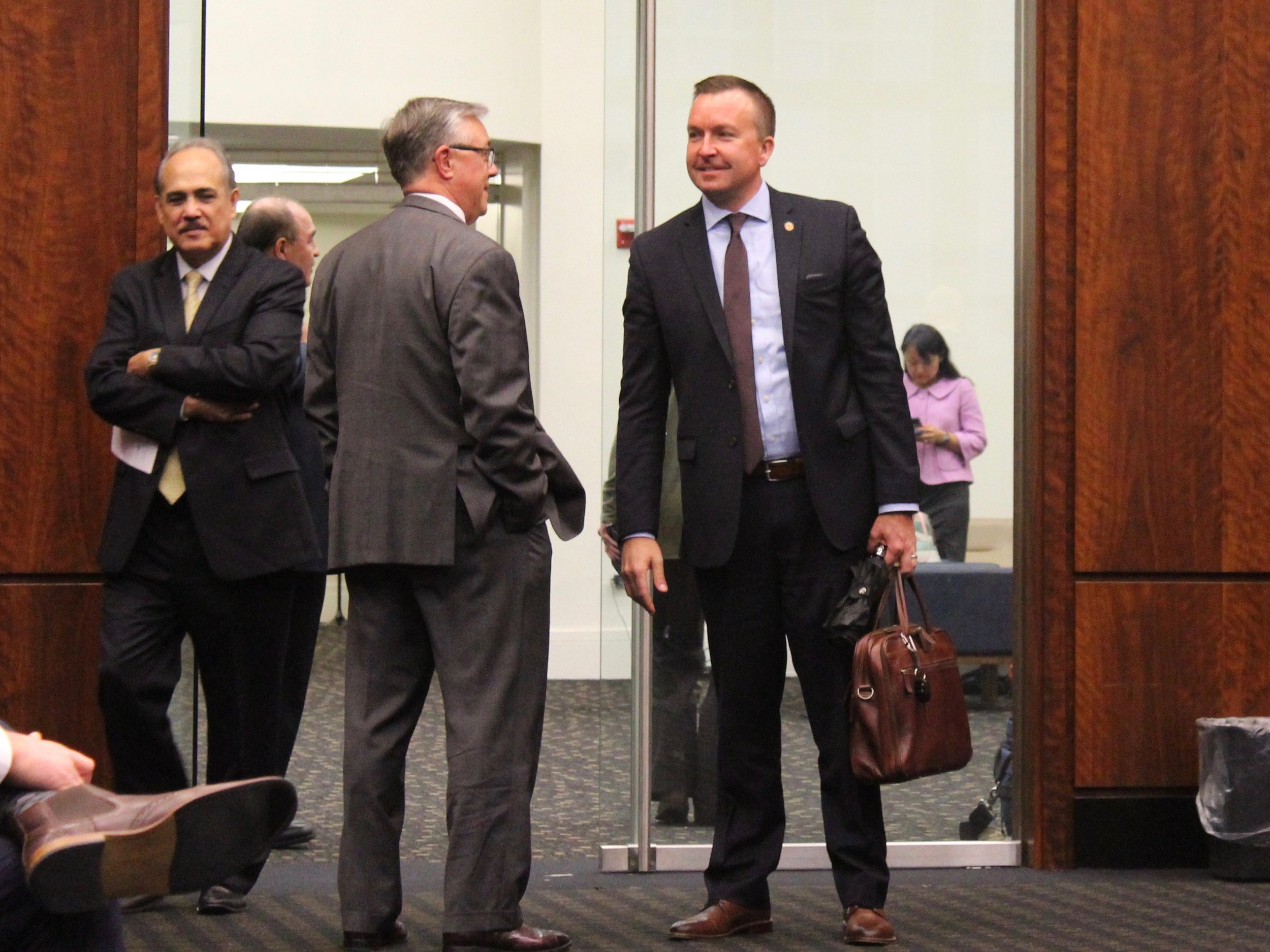 State Sen. Andy Manar attends a hearing in Chicago last month. (One Illinois/Ted Cox)