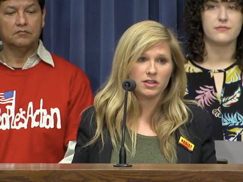 Taylor Blevons of Greenpeace speaks out against House Bill 1633 at a Springfield news conference Tuesday. (Blue Room Stream)