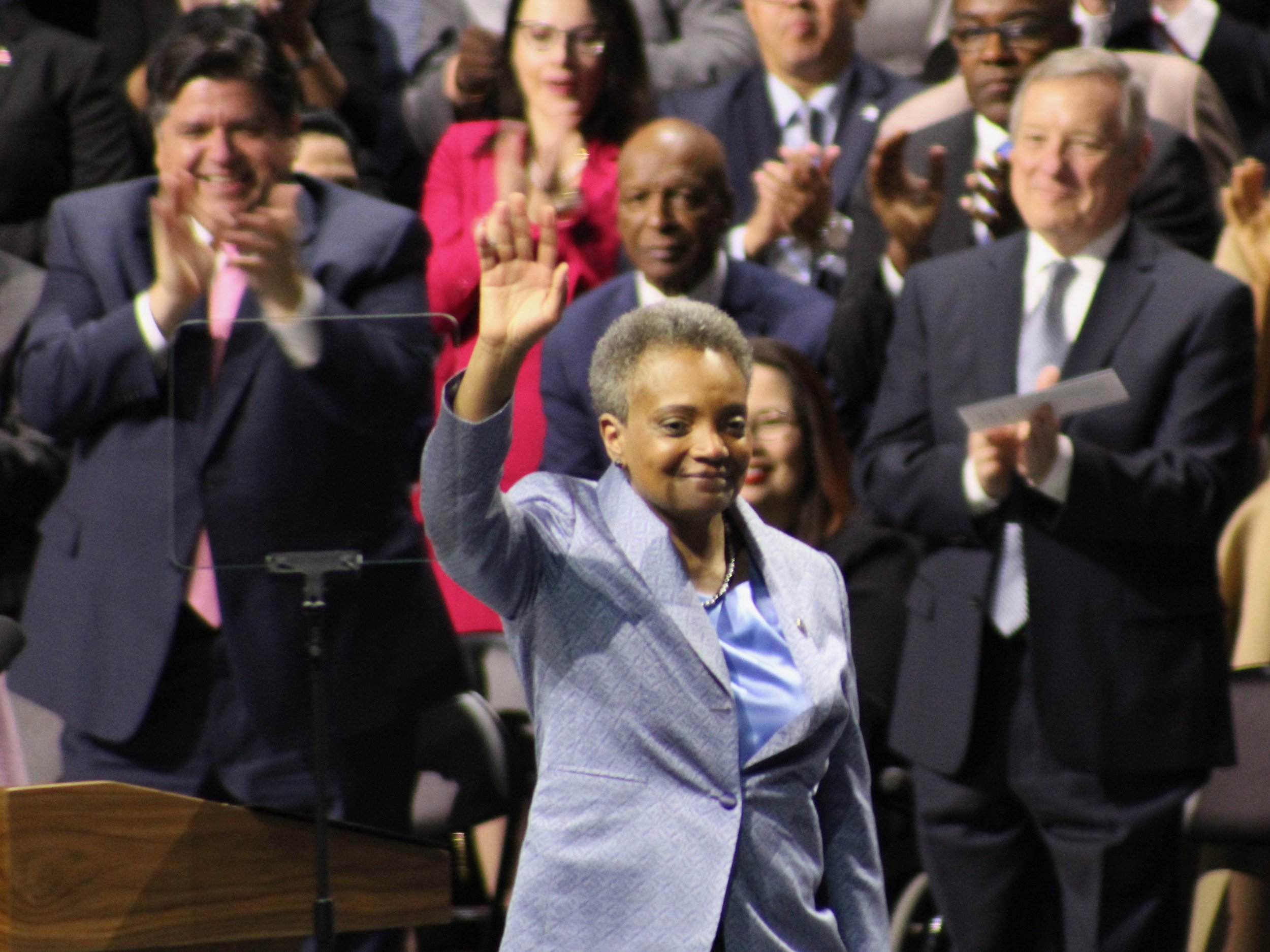 Chicago Mayor Lori Lightfoot acknowledges the crowd at her inauguration Monday. (One Illinois/Ted Cox)