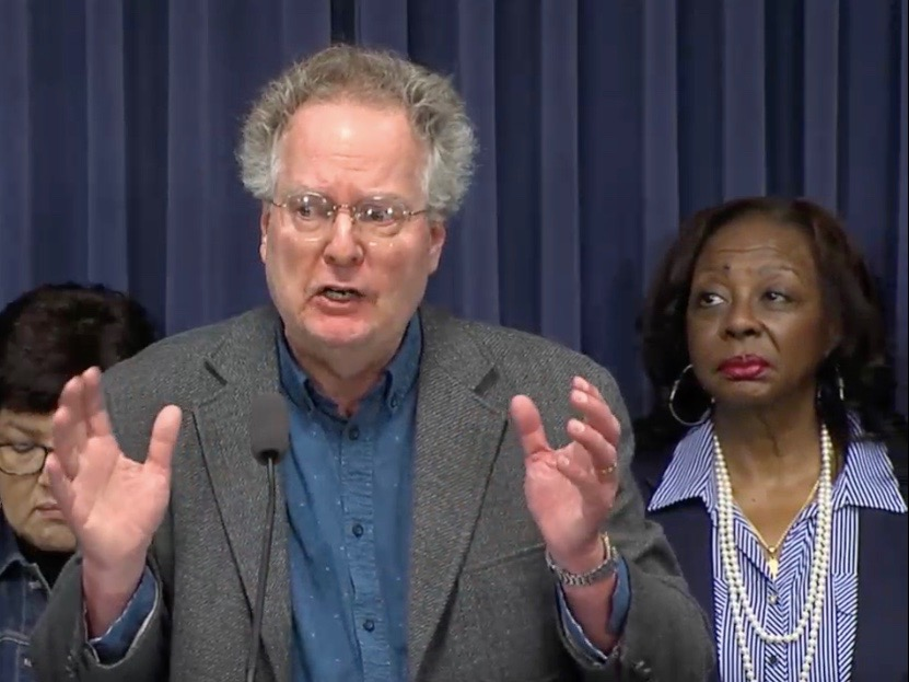 """We need to rebuild communities across the state of Illinois."" - Jeff Bartow, executive director of the Southwest Organizing Project (Blue Room Stream)"