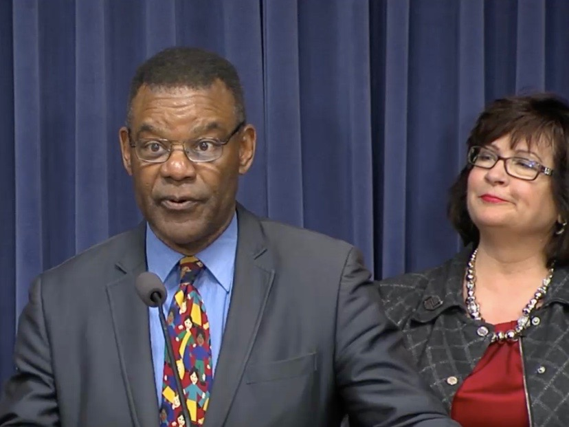 "Backed by Cathleen Wilson of the Bethalto Boys & Girls Club, Sam Banks, CEO of the Don Moyer Club in Champaign, says an infrastructure infusion would be a ""game-changer."" (Blue Room Stream)"