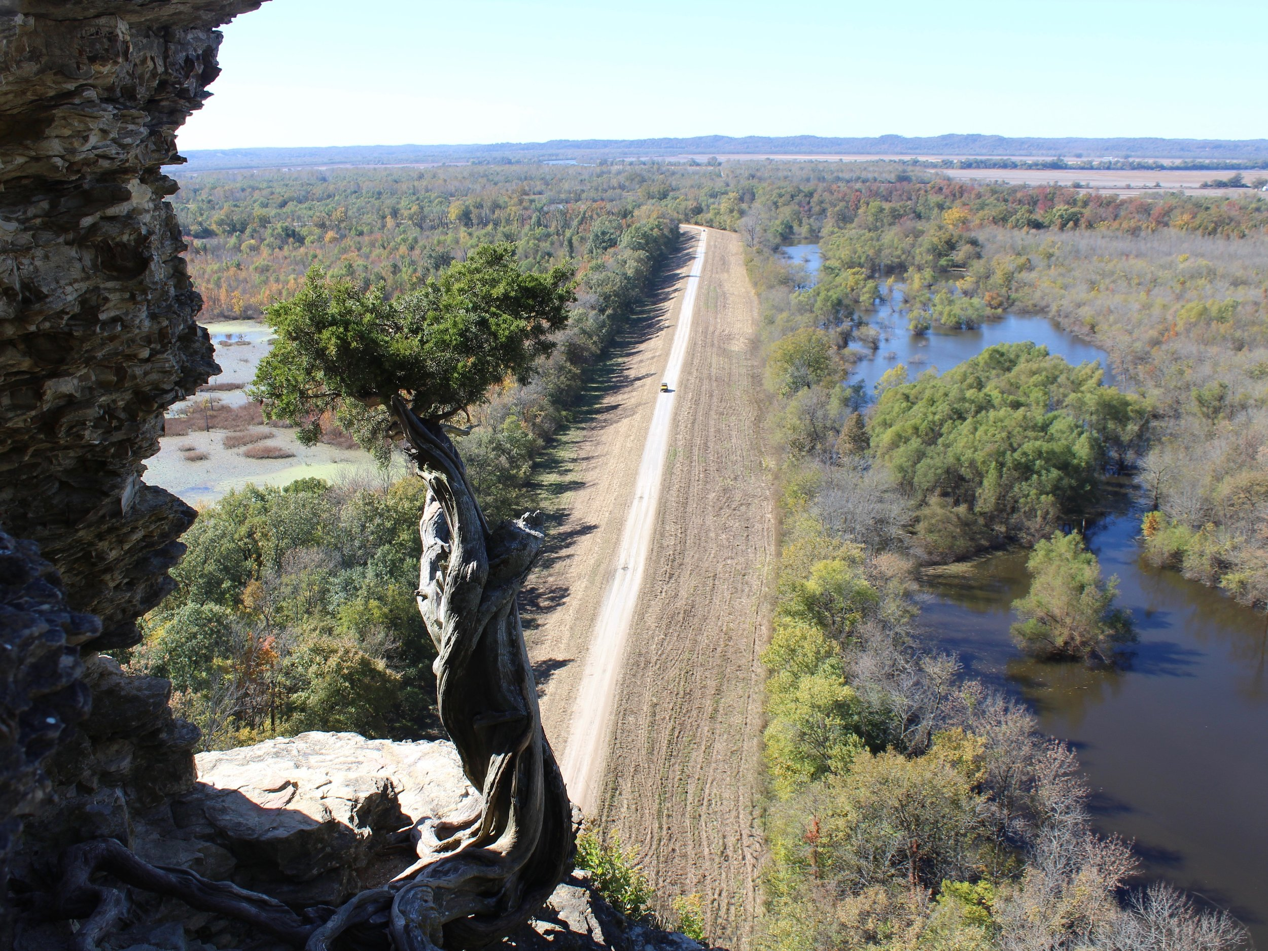Inspiration Point, looking down on the Big Muddy River, is toward the western end of the River to River Trail. (One Illinois/Ted Cox)