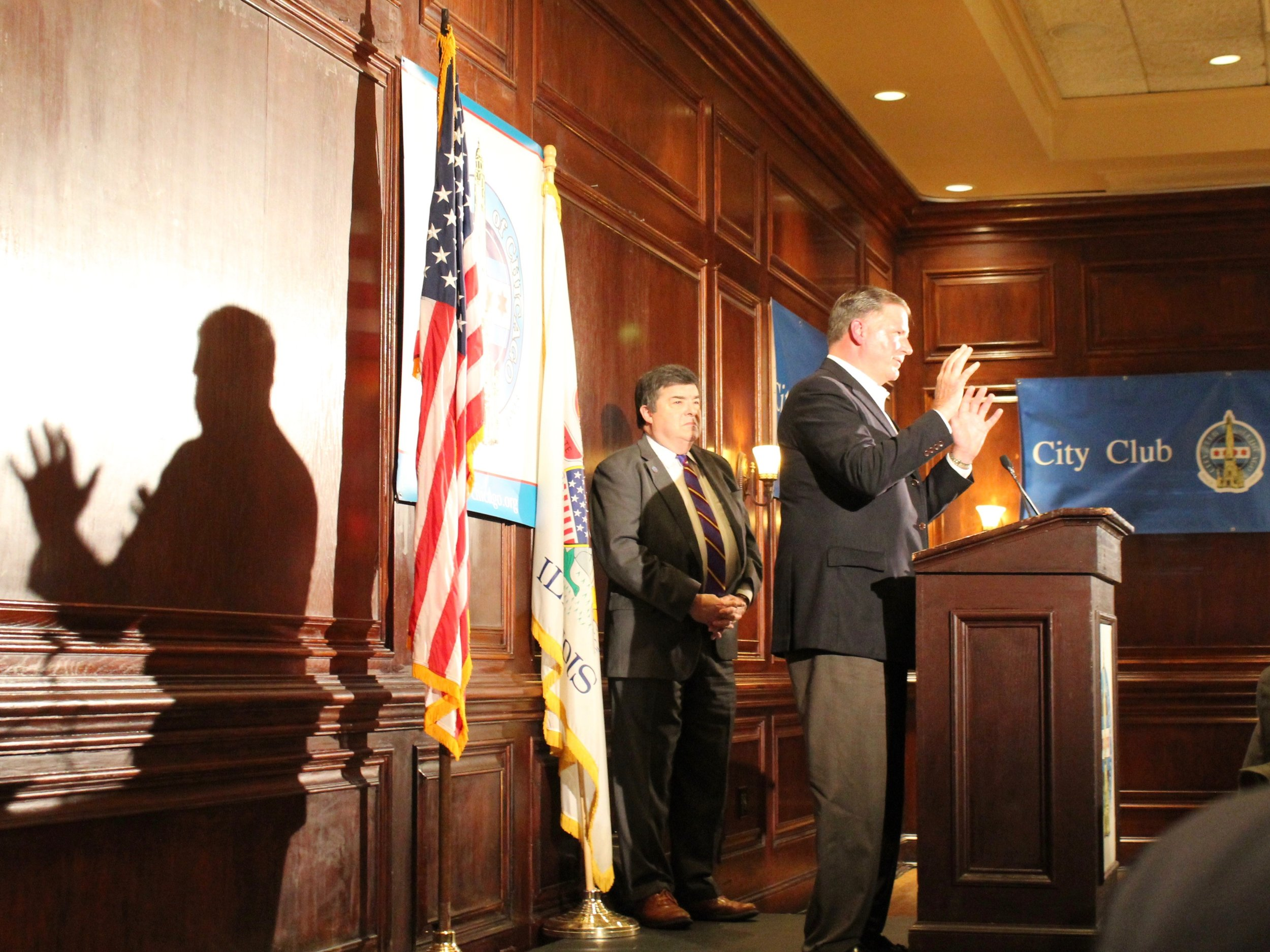 Sen. Bill Brady addresses the City Club of Chicago Tuesday. (One Illinois/Ted Cox)