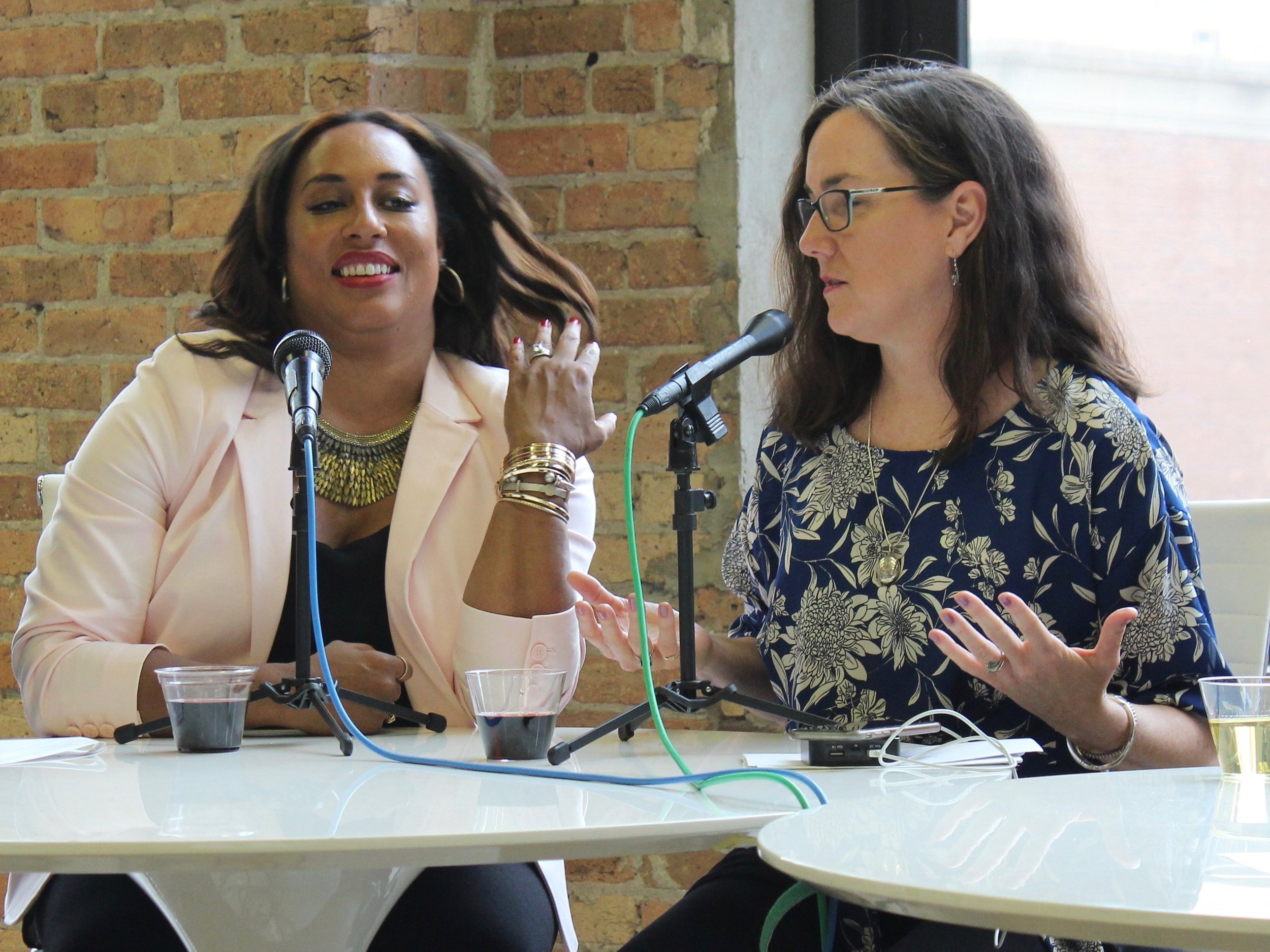 Sen. Toi Hutchinson and Rep. Kelly Cassidy credited their trust and friendship with getting the groundbreaking bill through the General Assembly. (One Illinois/Ted Cox)