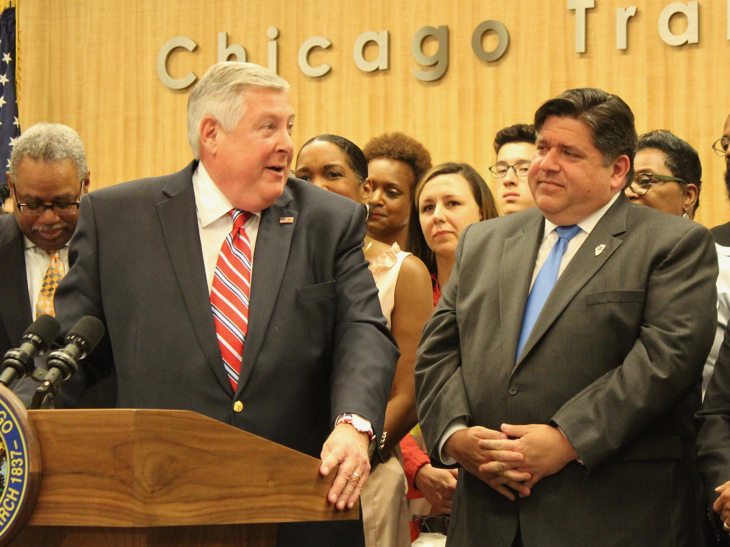 """RTA head Kirk Dillard told Gov. Pritzker, """"Where transit goes, the economy and the community grows."""" (One Illinois/Ted Cox)"""