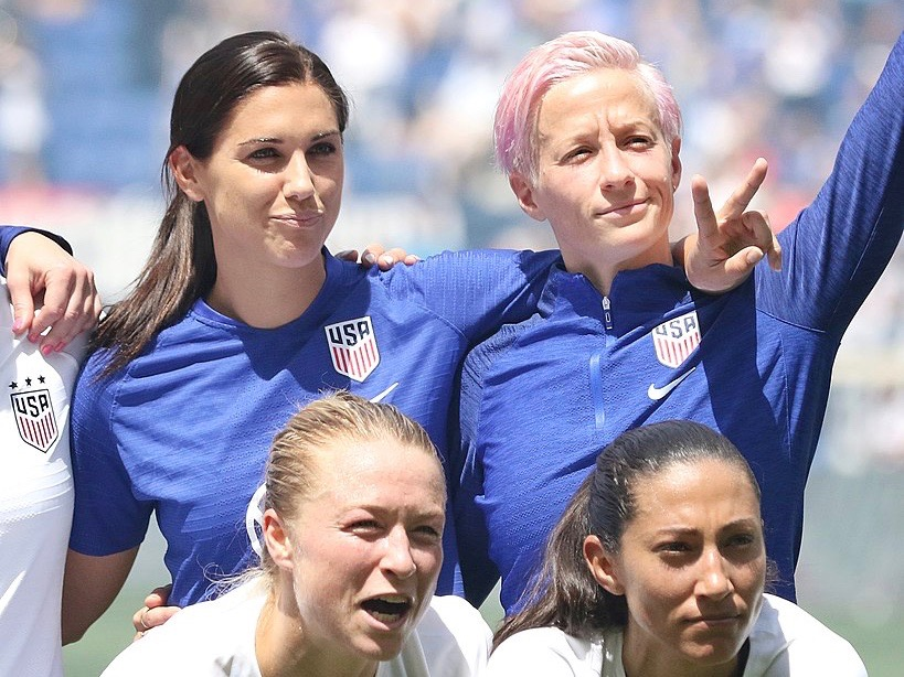U.S. players Alex Morgan, Emily Sonnett, Megan Rapinoe, and Christen Press pose for a photo earlier this year before the start of the World Cup soccer tournament. (Wikimedia Commons/Jamie Smed)