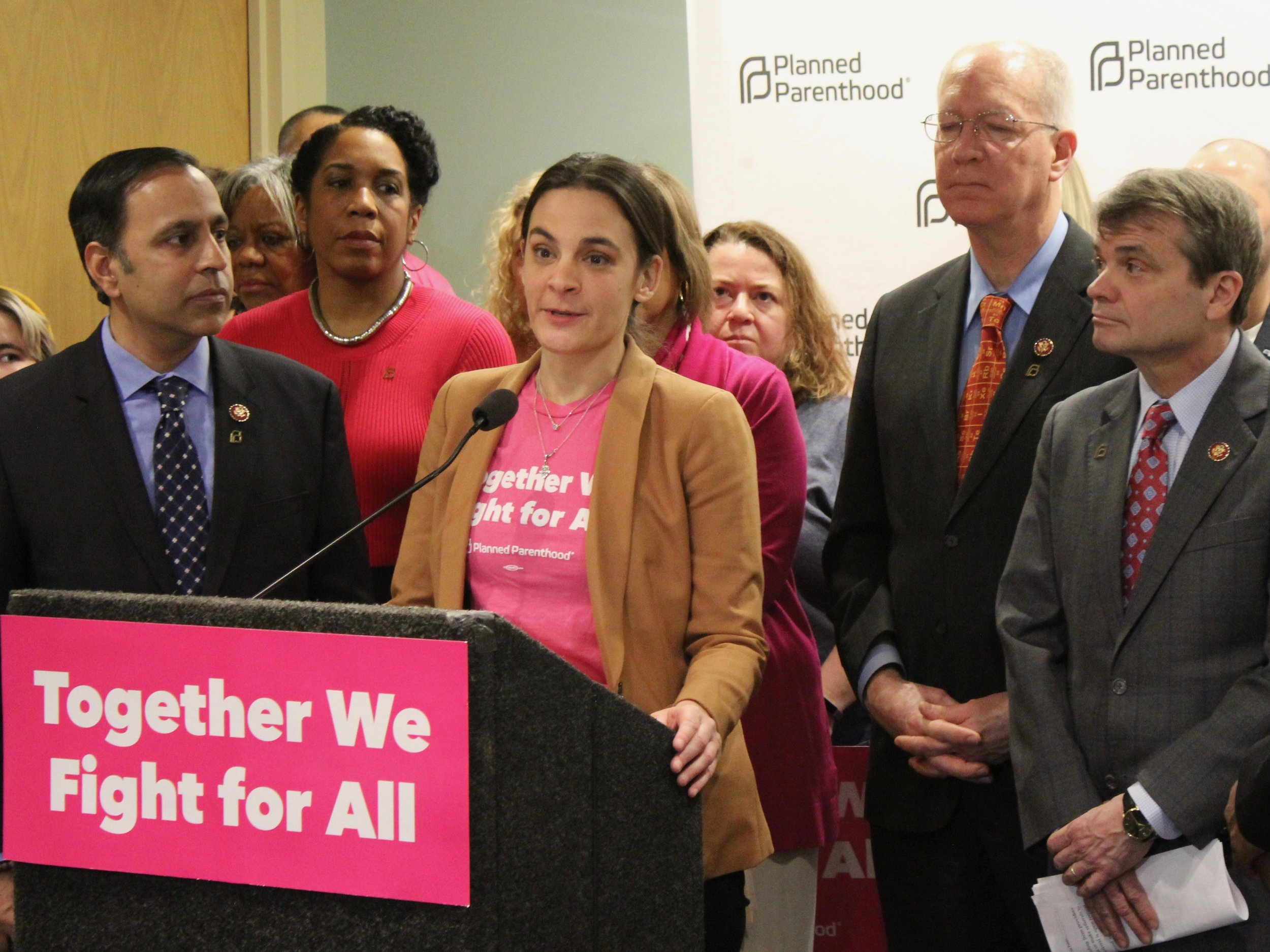 Julie Lynn of Planned Parenthood of Illinois speaks at a news conference in opposition to the Trump Title X gag rule earlier this year. (One Illinois/Ted Cox)