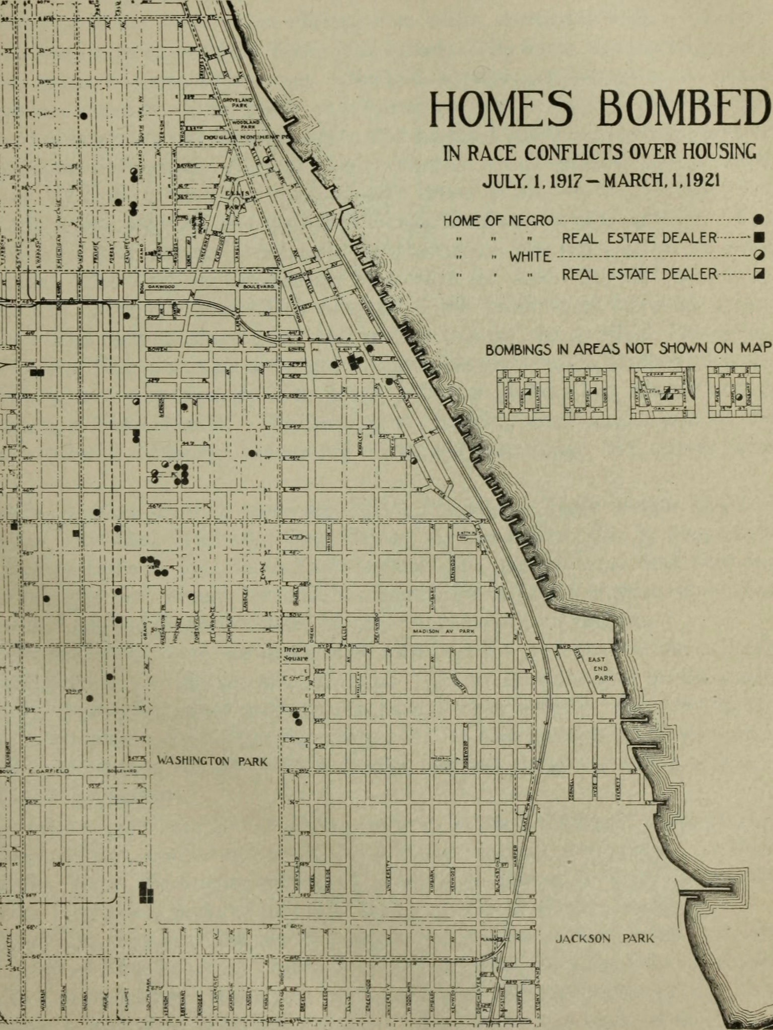"""A page from """"The Negro in Chicago"""" showing the sites of racial bombings between 1917 and 1921."""