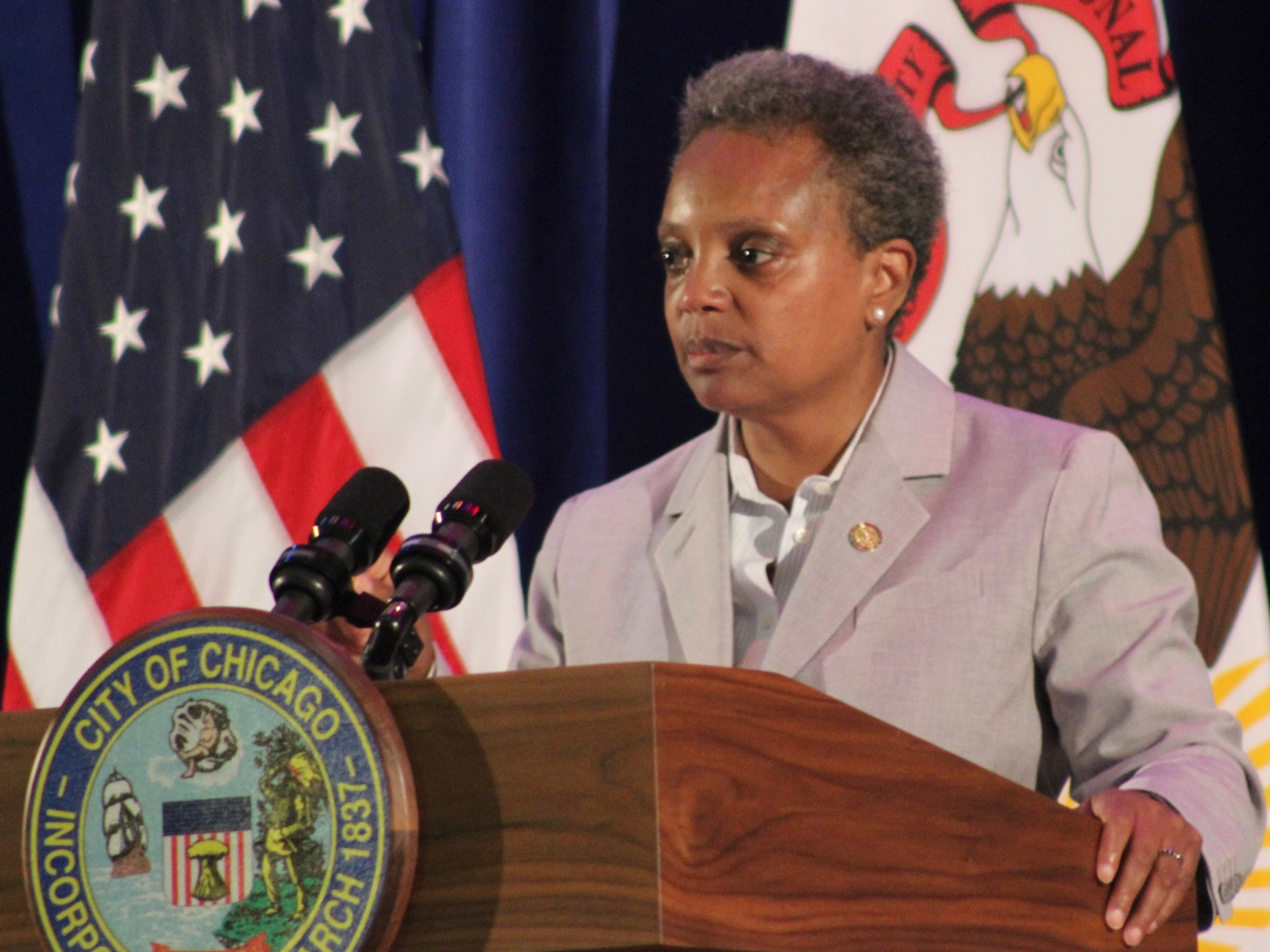 Chicago Mayor Lori Lightfoot speaks at an event memorializing the 1919 race riots Monday. (One Illinois/Ted Cox)