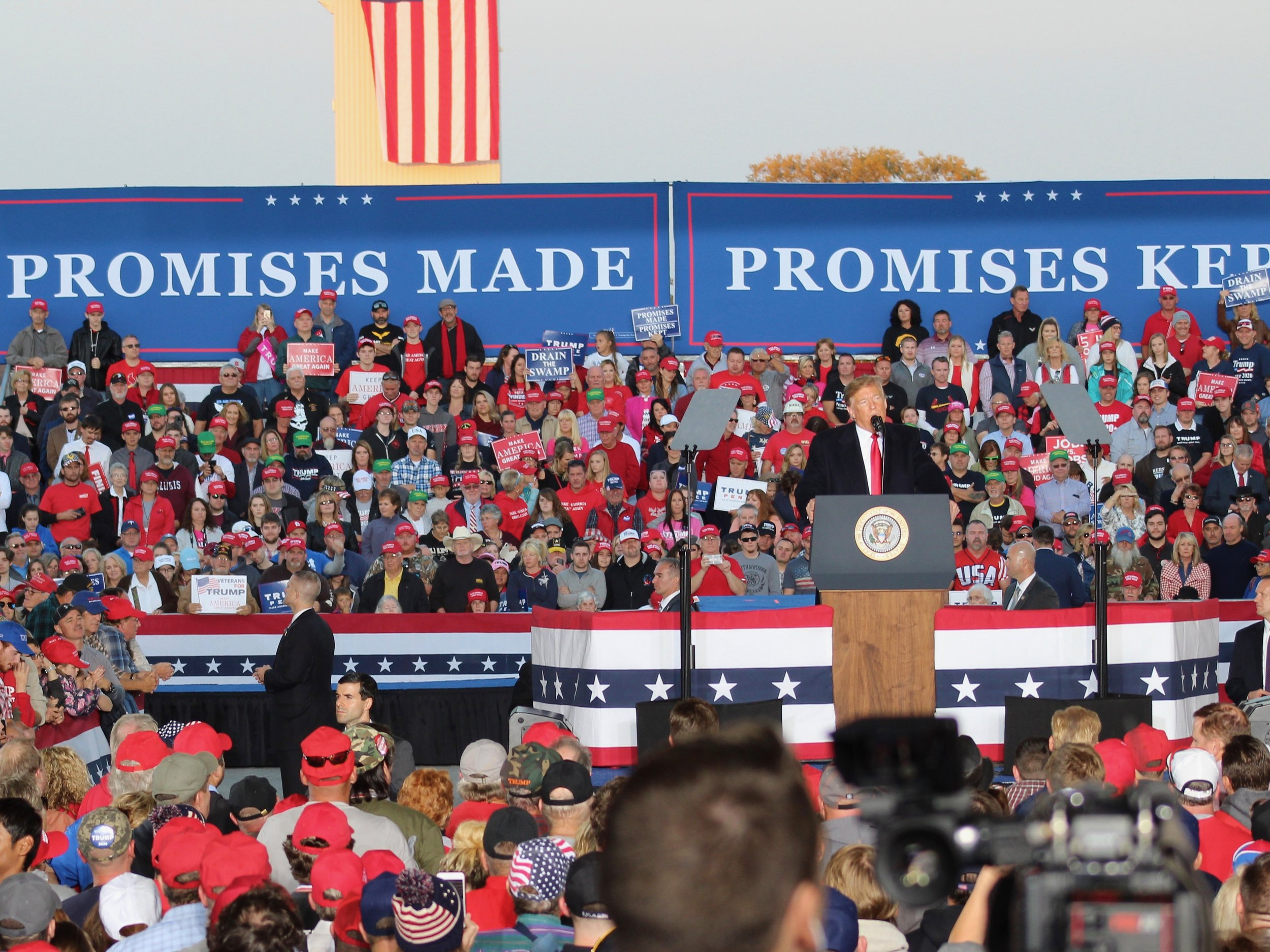President Trump addresses supporters at a campaign rally in Murphysboro before last fall's election. (One Illinois/Ted Cox)