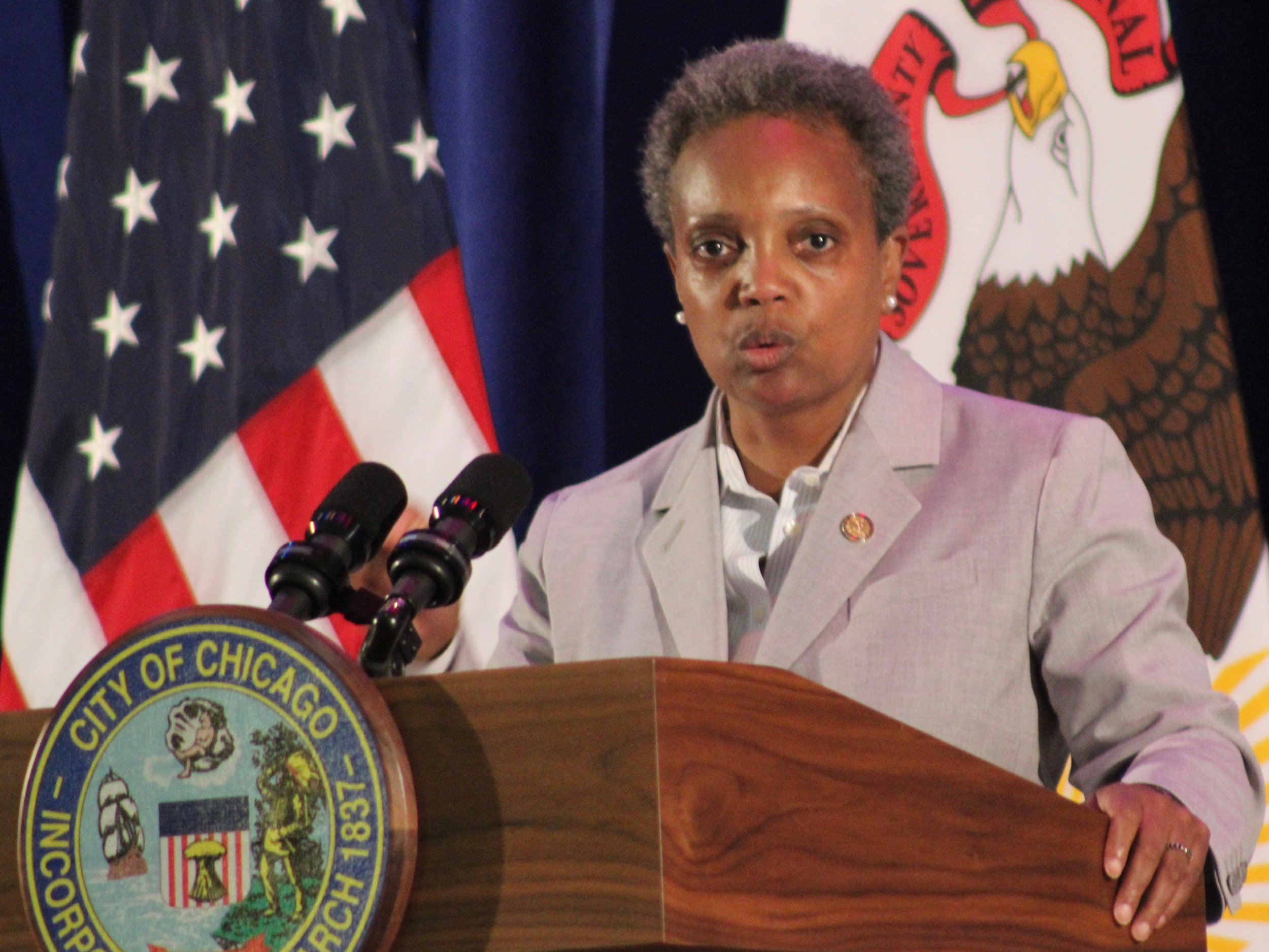"Chicago Mayor Lori Lightfoot accused President Trump of inspiring recent mass shootings by ""blowing every racist, xenophobic dog whistle."" (One Illinois/Ted Cox)"