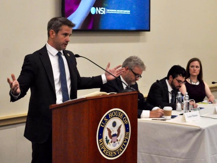 U.S. Rep. Adam Kinzinger addresses the National Security Institute. (Rep. Adam Kinzinger)