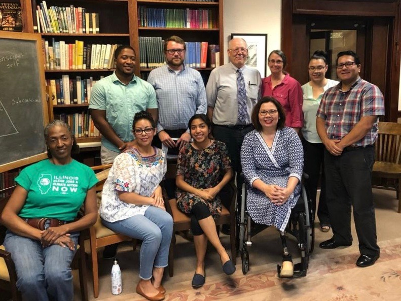 Sen. Tammy Duckworth poses with Lake County environmental activists after a meeting Monday on the dangers posed by emissions of ethylene oxide. (Sen. Tammy Duckworth)