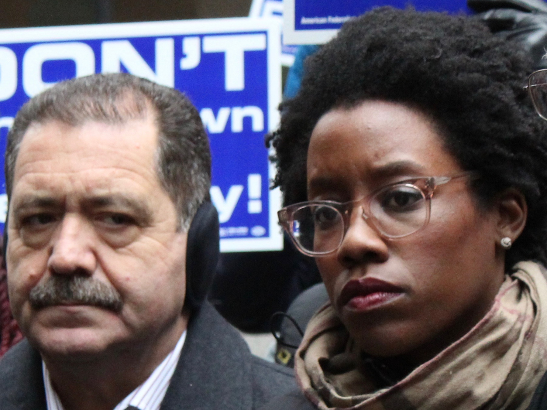 """U.S. Rep. Lauren Underwood (right) came out in support of a formal congressional impeachment inquiry into President Trump this week, backing a move already taken by U.S. Rep. Jesus """"Chuy"""" Garcia (left). (One Illinois/Ted Cox)"""