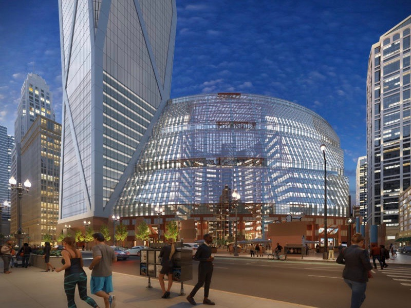 A rendering of Landmarks Illinois's proposed design to update the Thompson Center, including a tower with a hotel and permanent residences. (Landmarks Illinois)