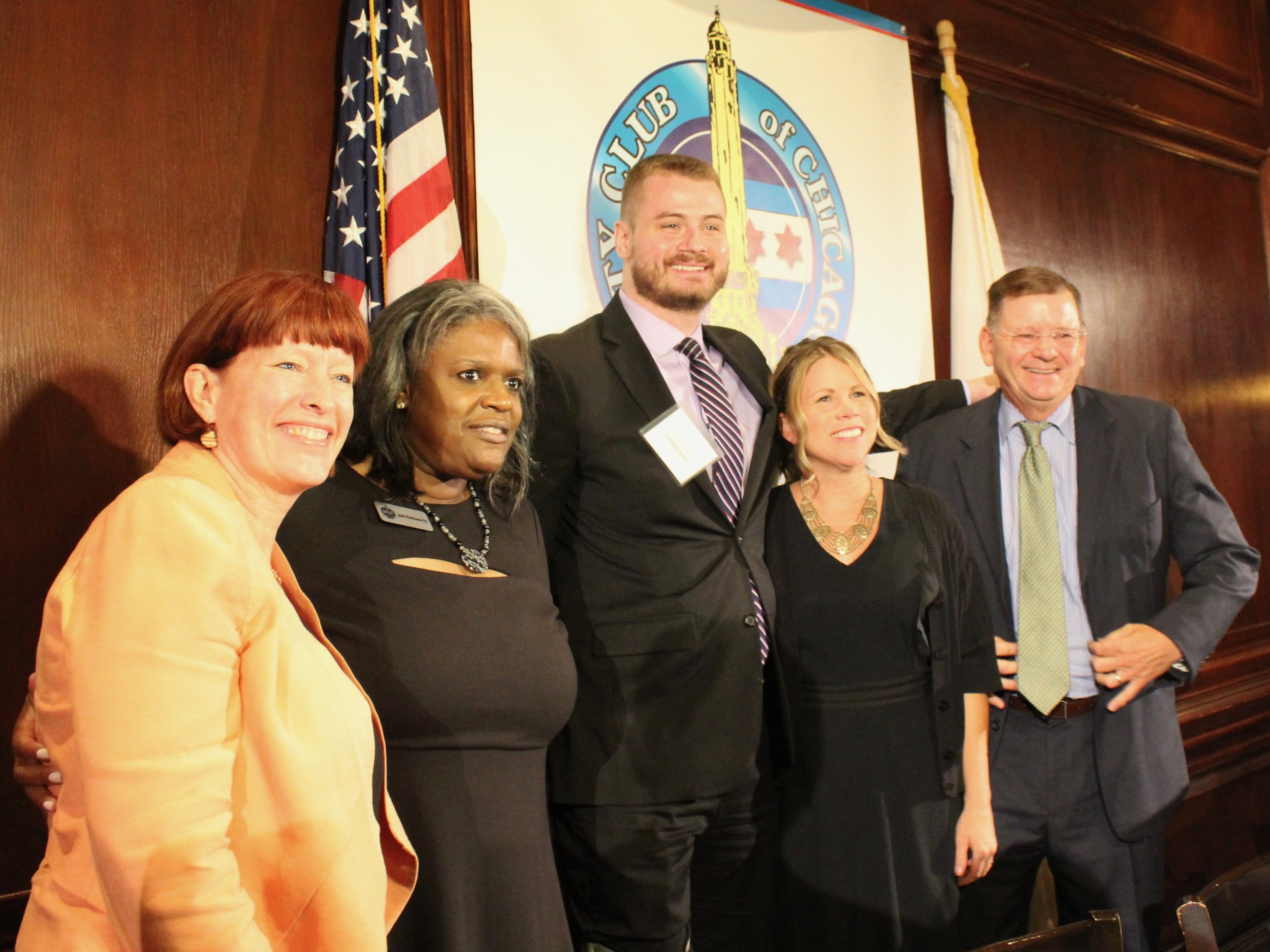 State Sen. Heather Steans, Jacki Robinson-Ivy of the City Club of Chicago, Adam Schuster of the Illinois Policy Institute, Kristen McQueary of the Chicago Tribune, and Civic Federation President Laurence Msall pose after Monday's discussion on public pensions. (One Illinois/Ted Cox)