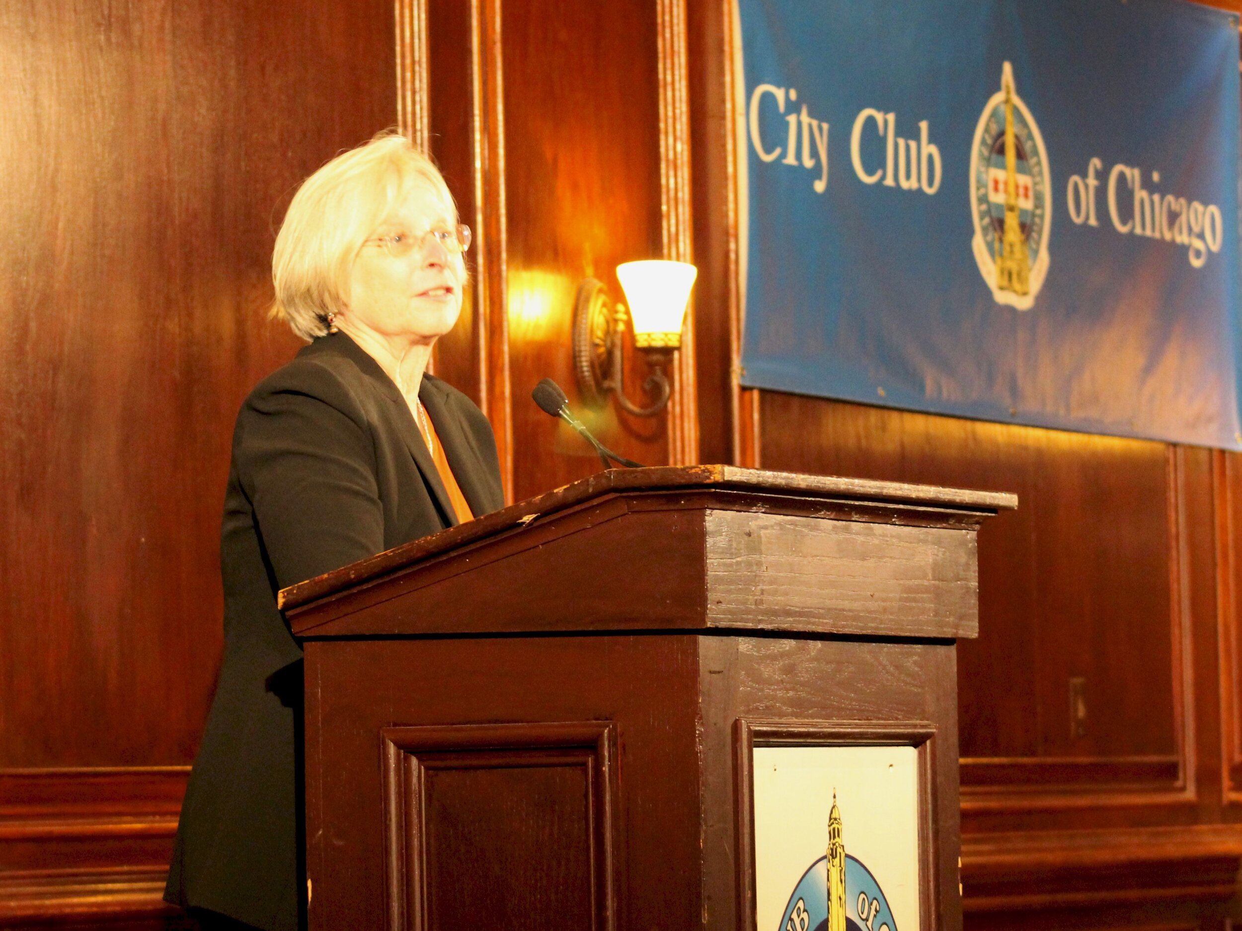 Colleen Connell, head of the ACLU of Illinois, speaks at the City Club of Chicago Tuesday. (One Illinois/Ted Cox)