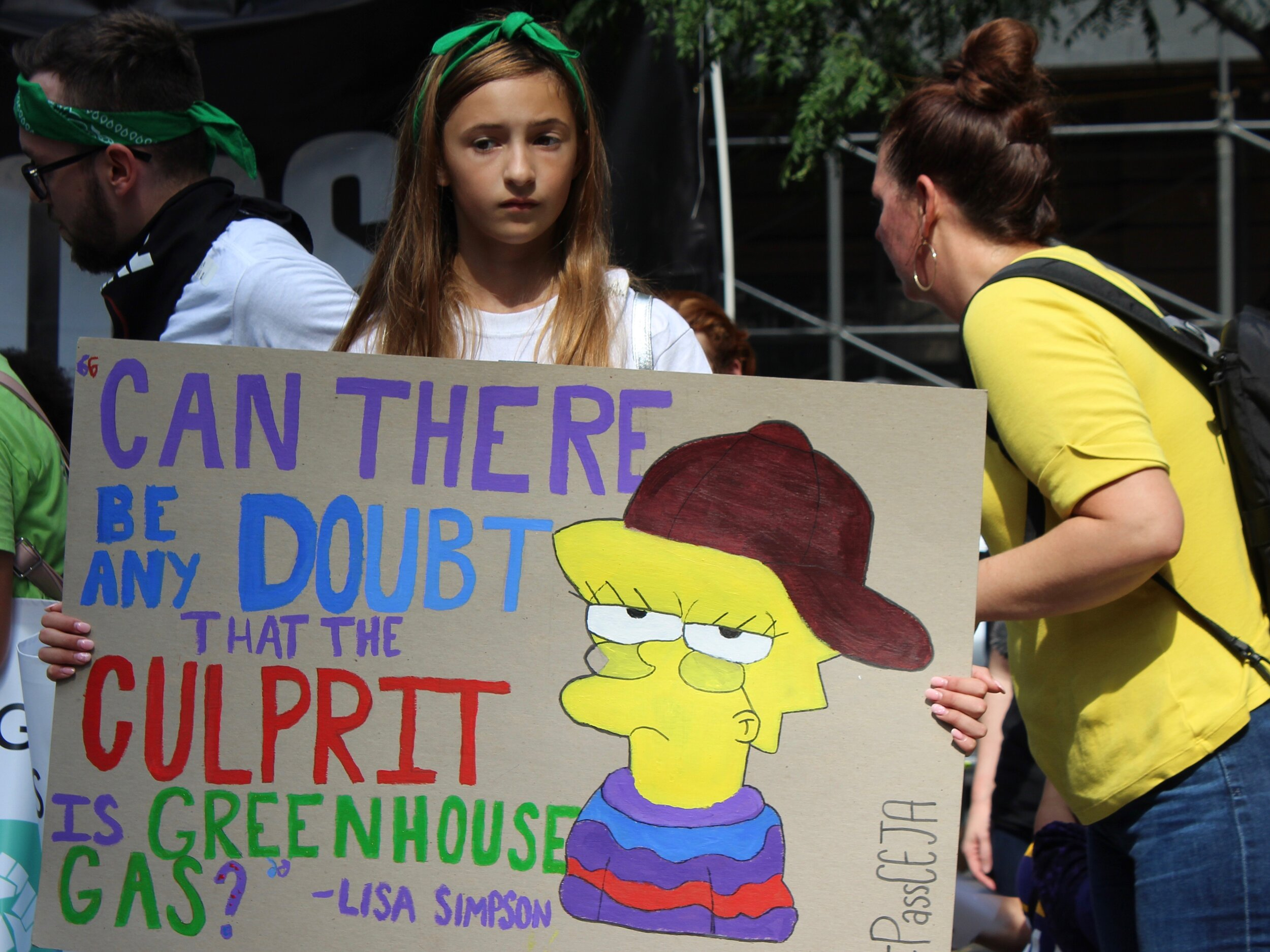 One student protester drew on the wisdom of Lisa Simpson. (One Illinois/Ted Cox)