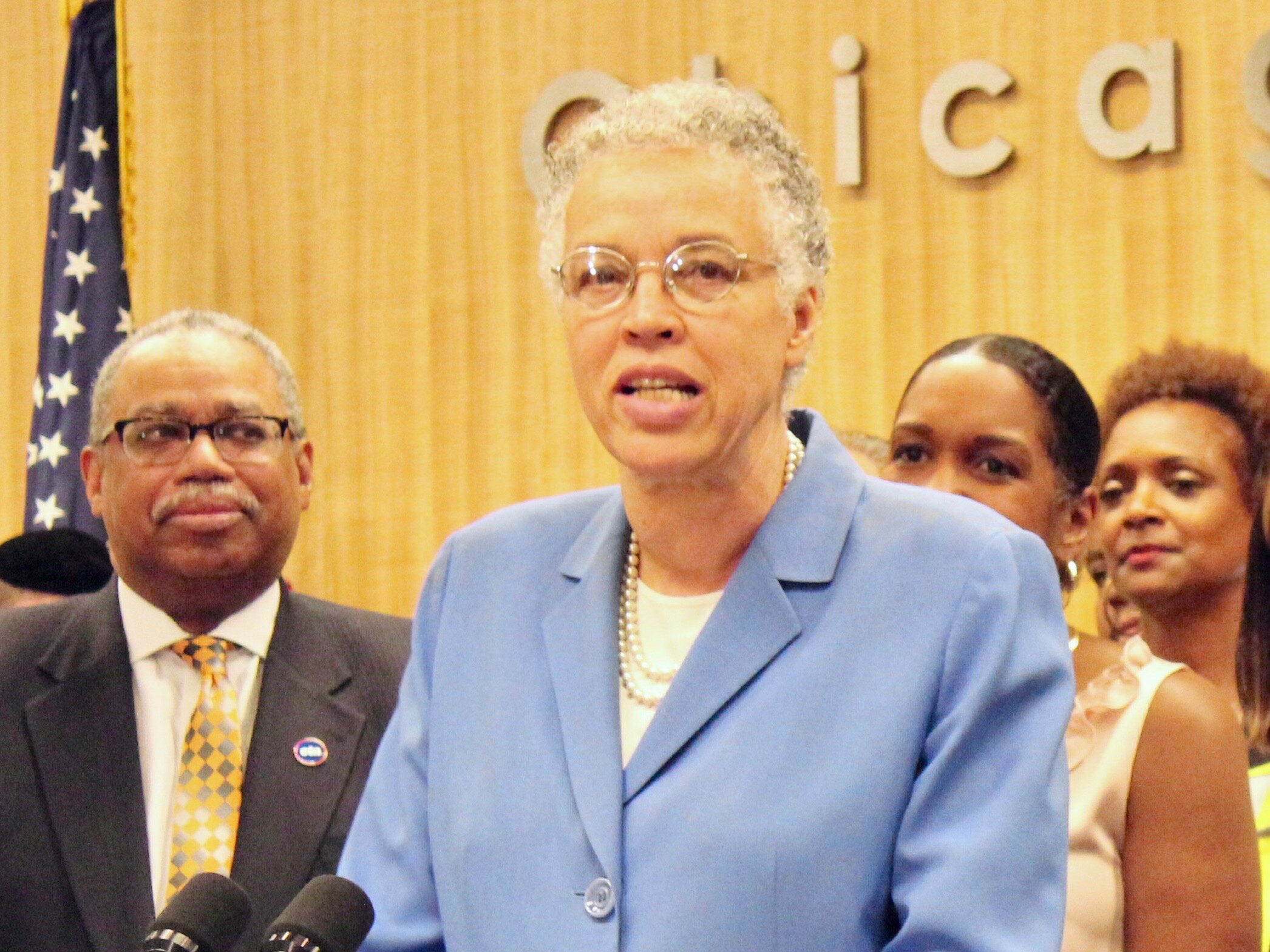 Cook County Board President Toni Preckwinkle defends aspiring immigrants and charges in a lawsuit that discouraging them from using Medicaid would hike health costs. (One Illinois/Ted Cox)
