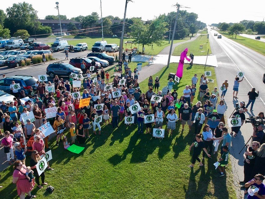 Stop Sterigenics holds a rally in Willowbrook in August. (Facebook/Stop Sterigenics)