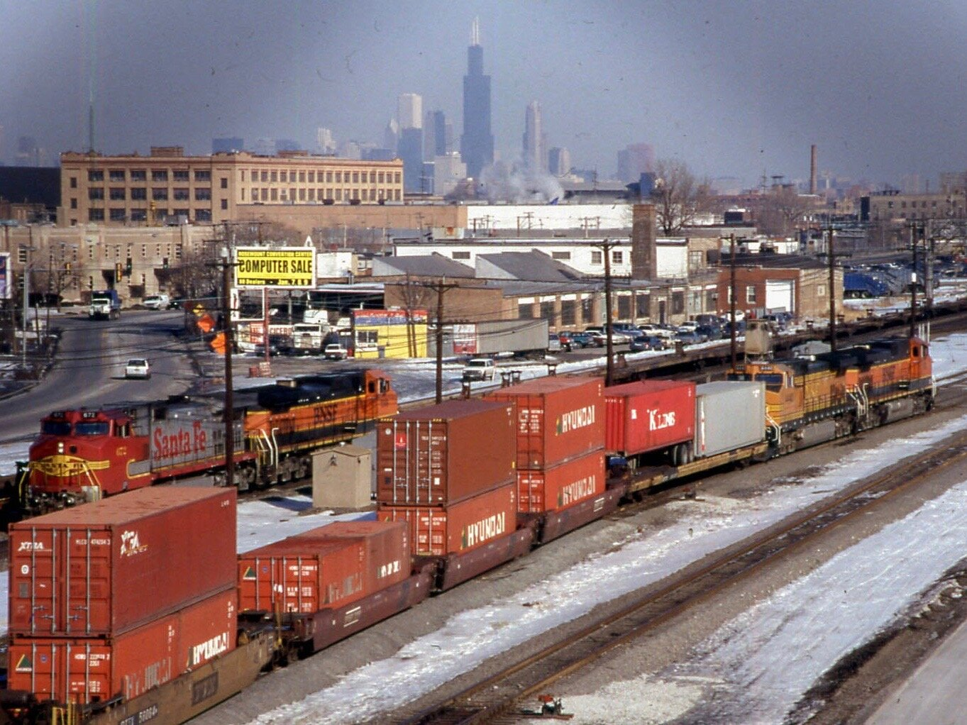 The Chicago skyline looms in the distance over the BNSF International rail yard in Cicero in a 2000 photo. (Flickr/David Wilson)