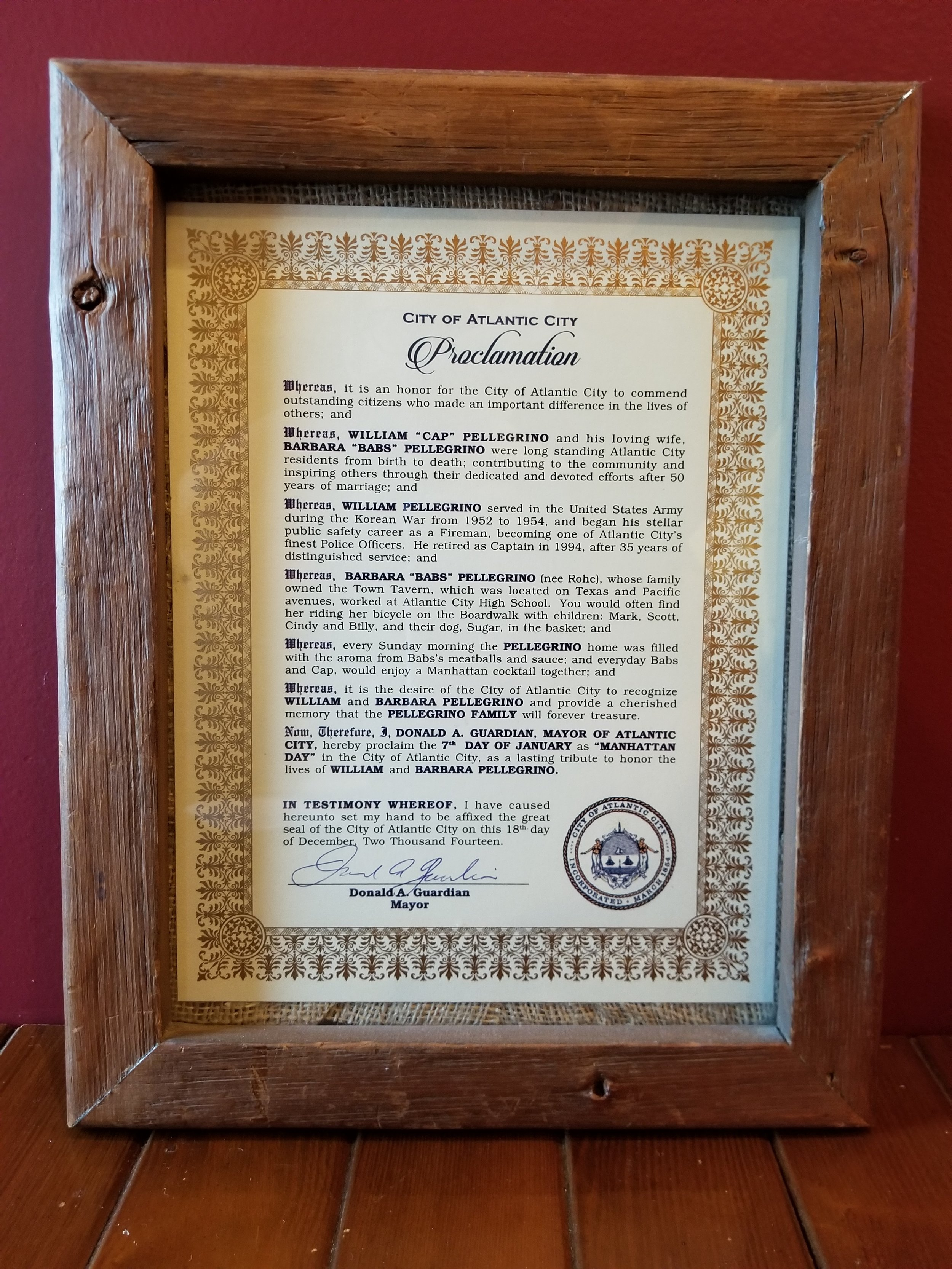 - Proclamation for Manhattan Day in Atlantic City, honoring Mark's parents.